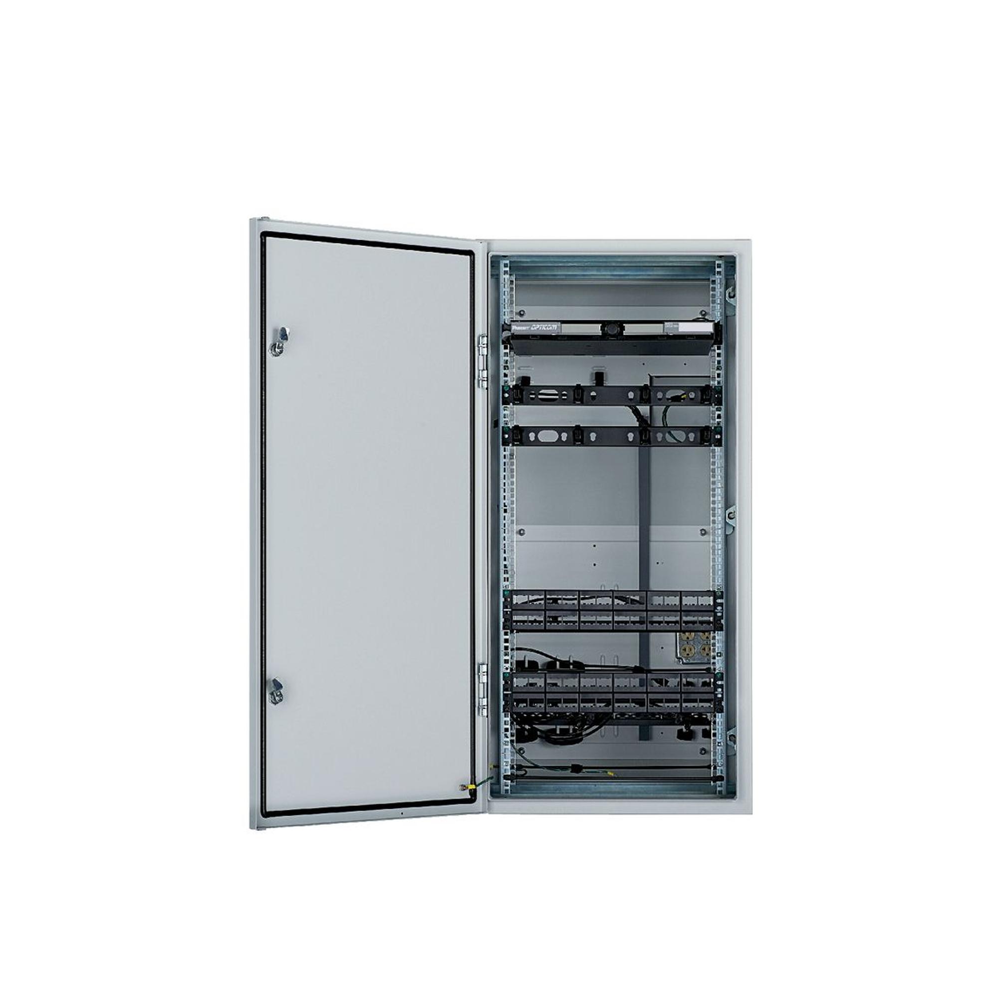 Gabinete Industrial Preconfigurado de Montaje en Pared, Fabricado en Acero Bajo en Carbono, Protección NEMA 4/12 IP66, de 26 UR, Color Gris