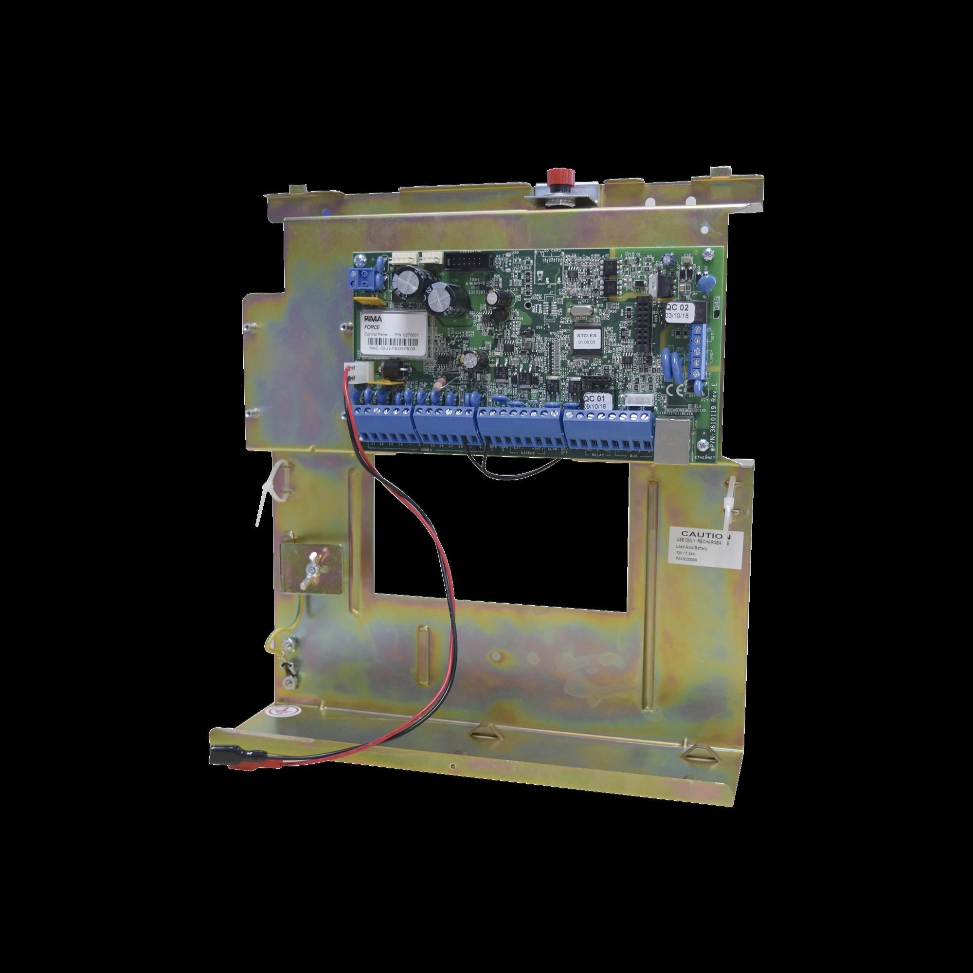Panel de Alarma FORCE Hibrido 8 a 144 Zonas, Conexión IP en Tarjeta compatible con App PIMALINK Gratis!!, incluye Gabinete metálico con tamper