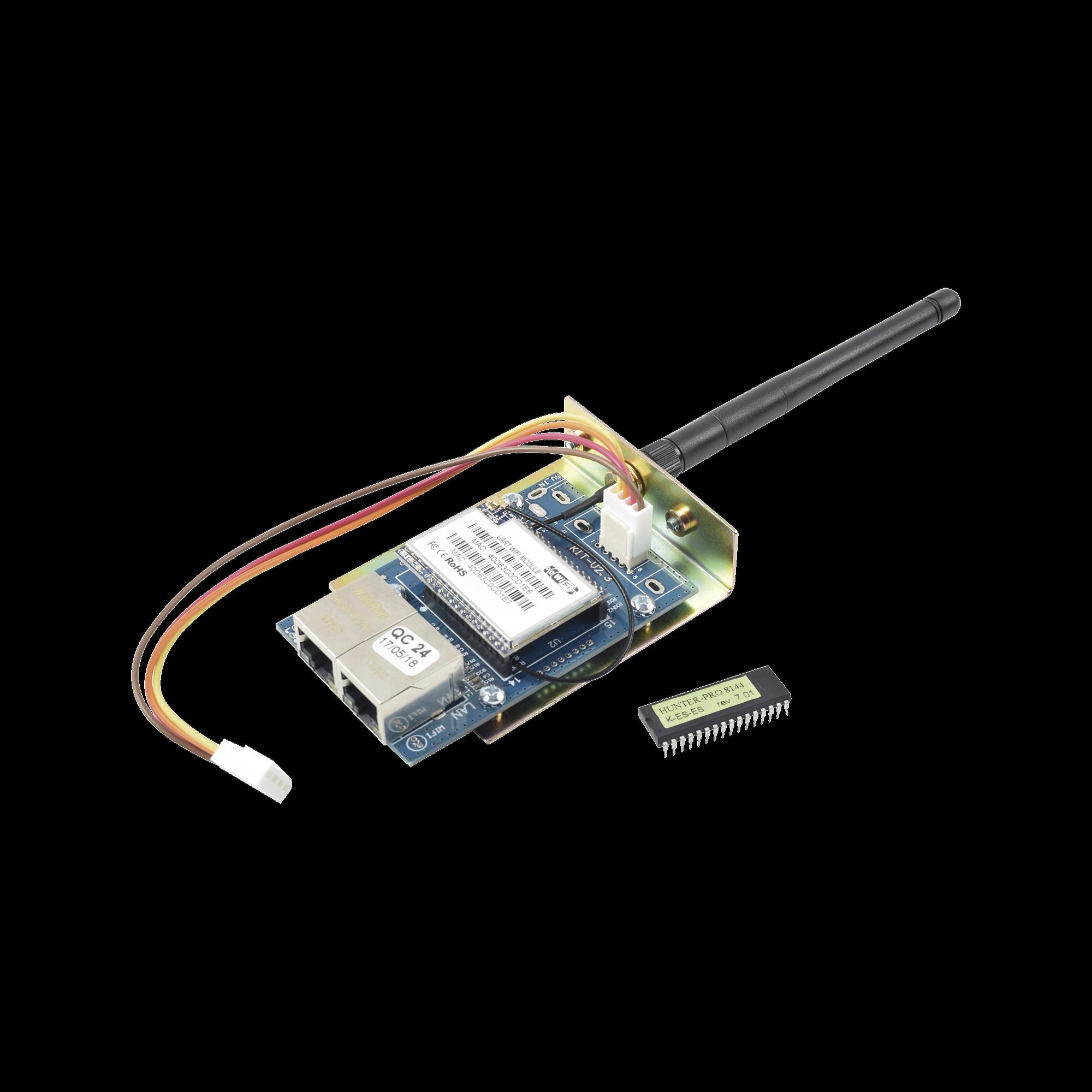 Kit de Comunicador WIFI/Ethernet para paneles PIMA HUNTERPRO-8144 y CHIP para actualizar. Permite uso de App PIMALink 2.0 Gratuita.