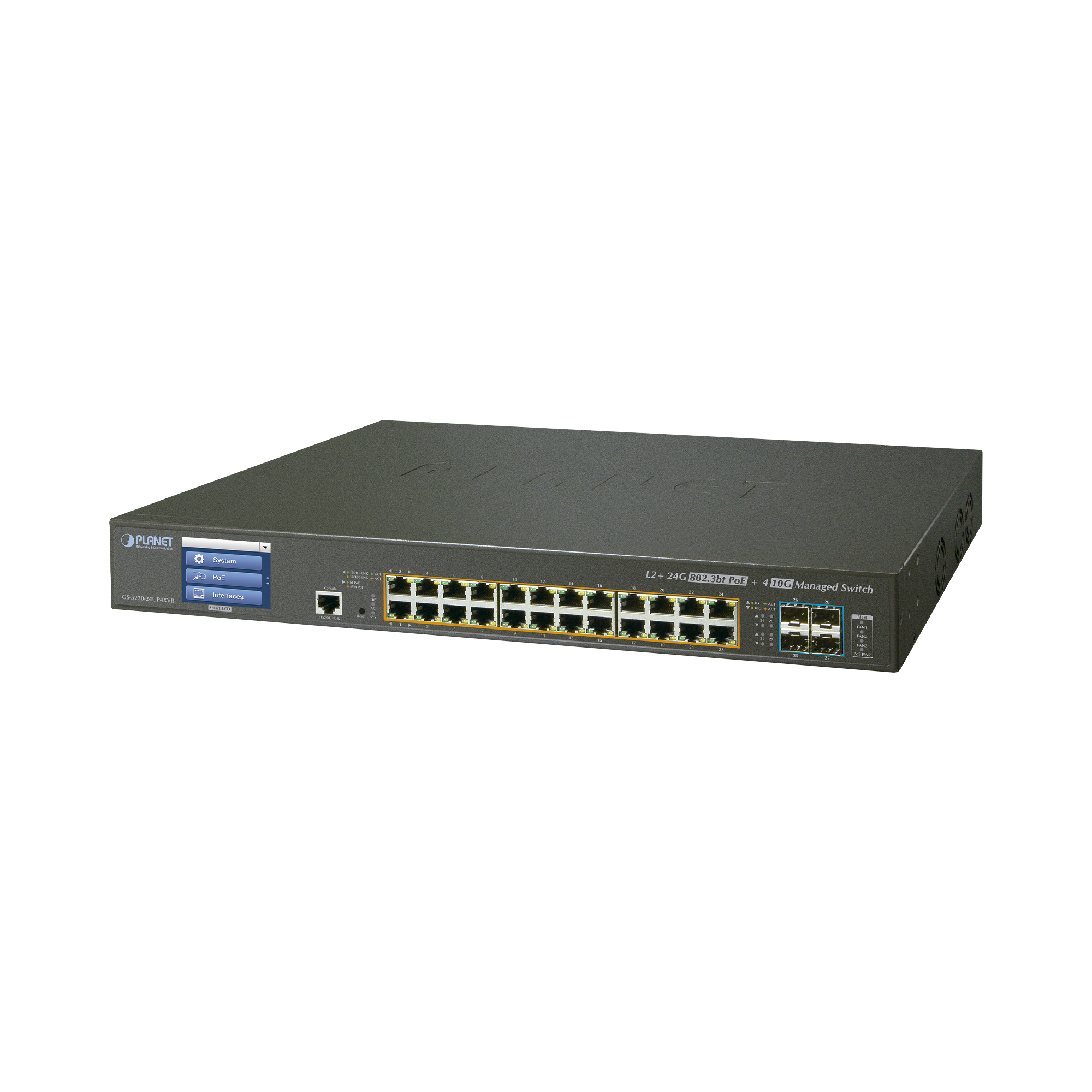 Switch Administrable L2+, 24 puertos Gigabit PoE 802.3bt, 4 puertos 10G SFP+,Pantalla táctil, Fuente Redundante, (400W)