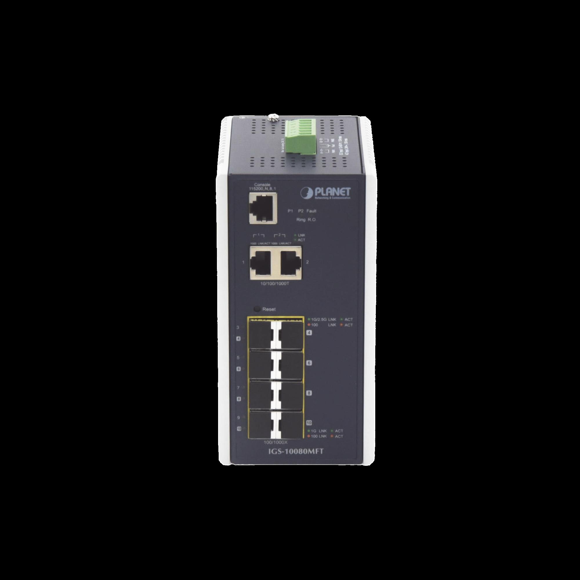 Switch Industrial Administrable L2+, 8 Puertos 1G SFP, 2 Puertos TP Gigabit, (-40 ~75 grados C)
