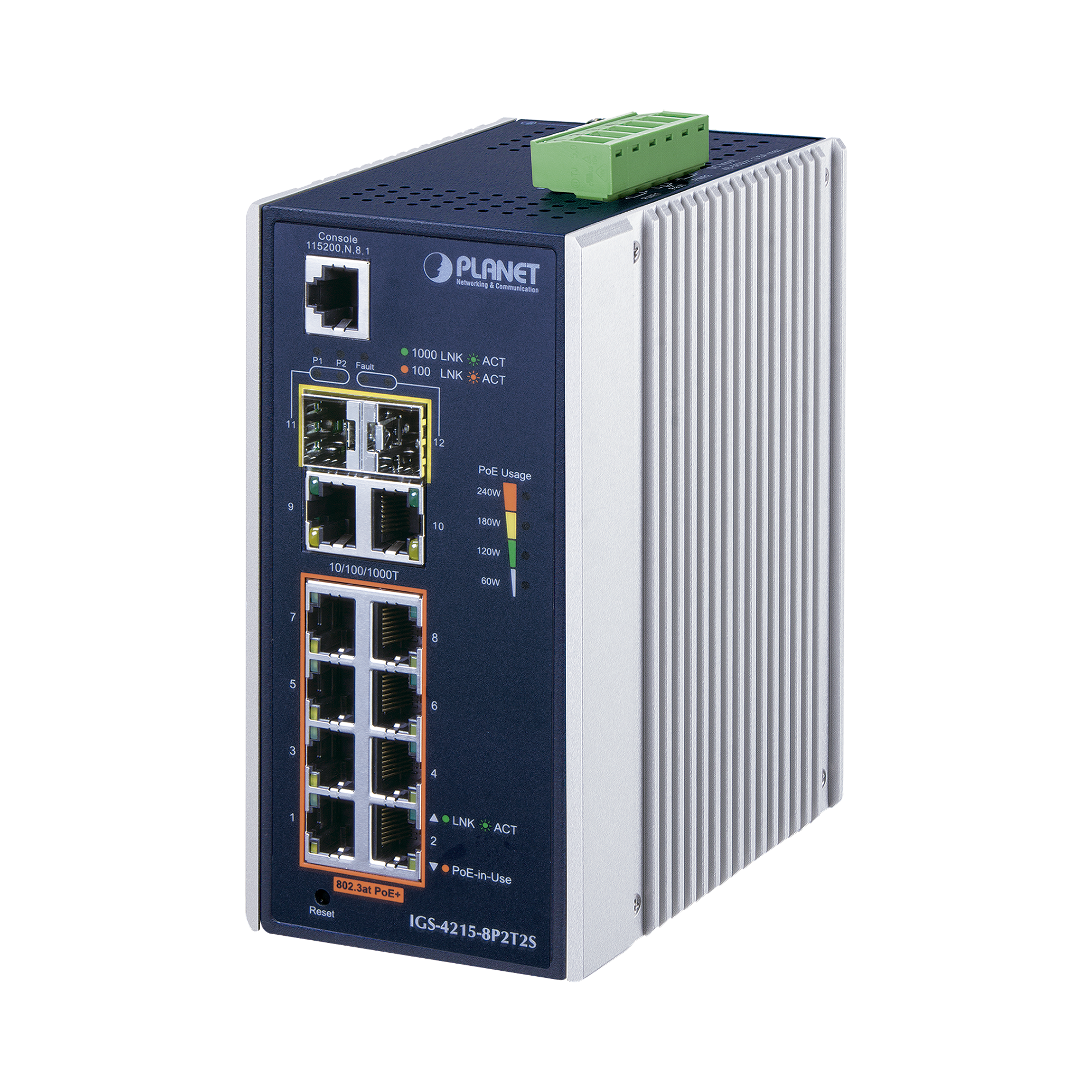 Switch industrial Administrable L2 de 8 puertos Gigabit c/PoE 802.3at + 2 puertos Gigabit + 2 puertos SFP (240W)