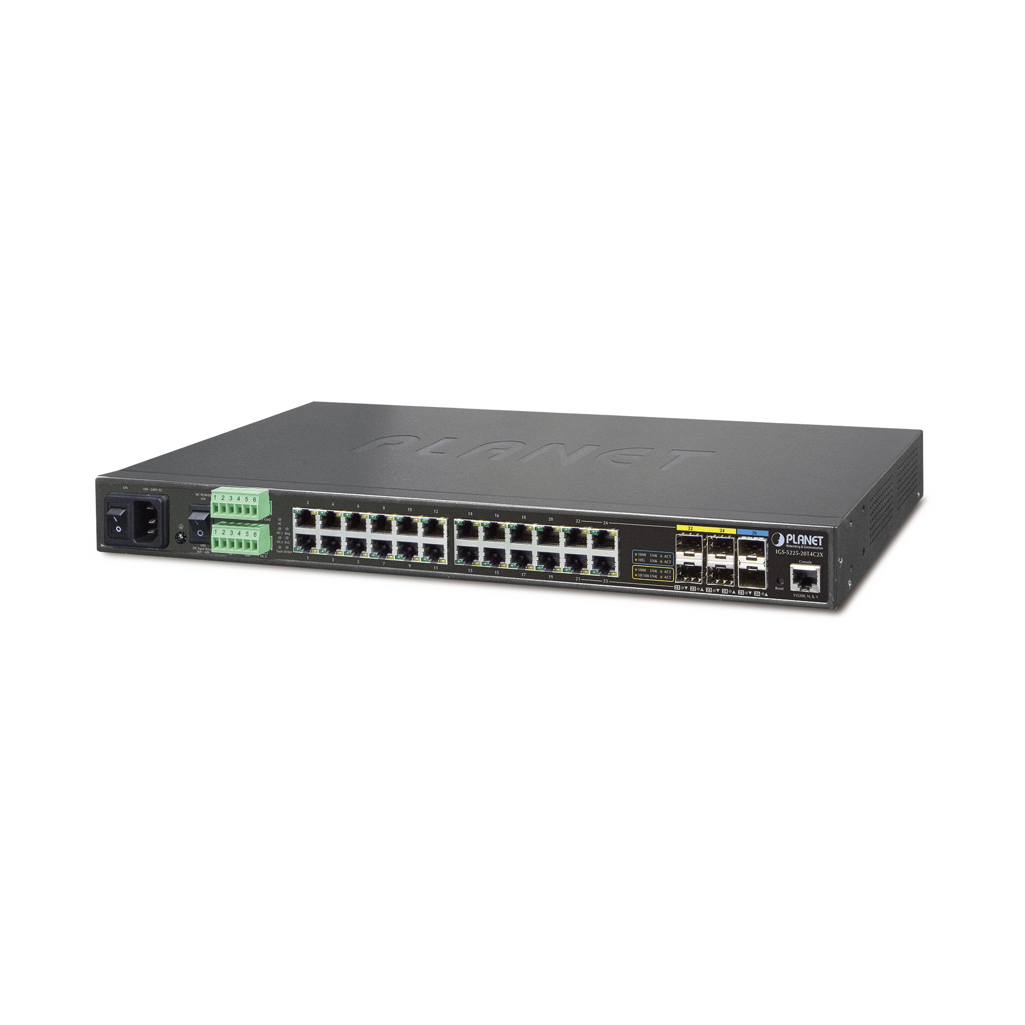 Switch Industrial Administrable L2+ 24 Puertos ,4 Combo SFP, 2 SFP+ 10G (-40 a 75ºC)