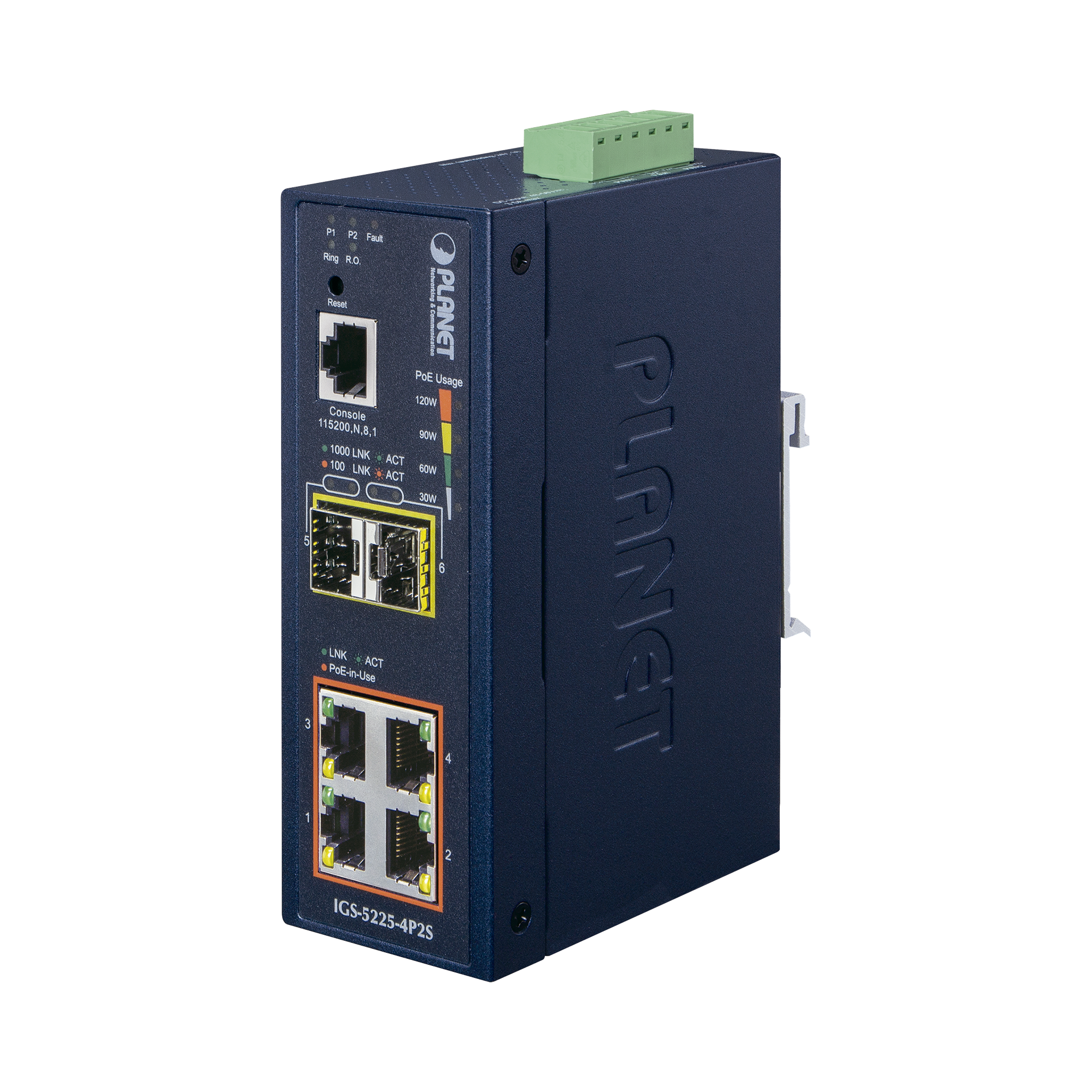 Switch Administrable industrial L2+ de 4 puertos 10/100/1000T C/PoE 802.3at + 2 puertos SFP 100/1000X