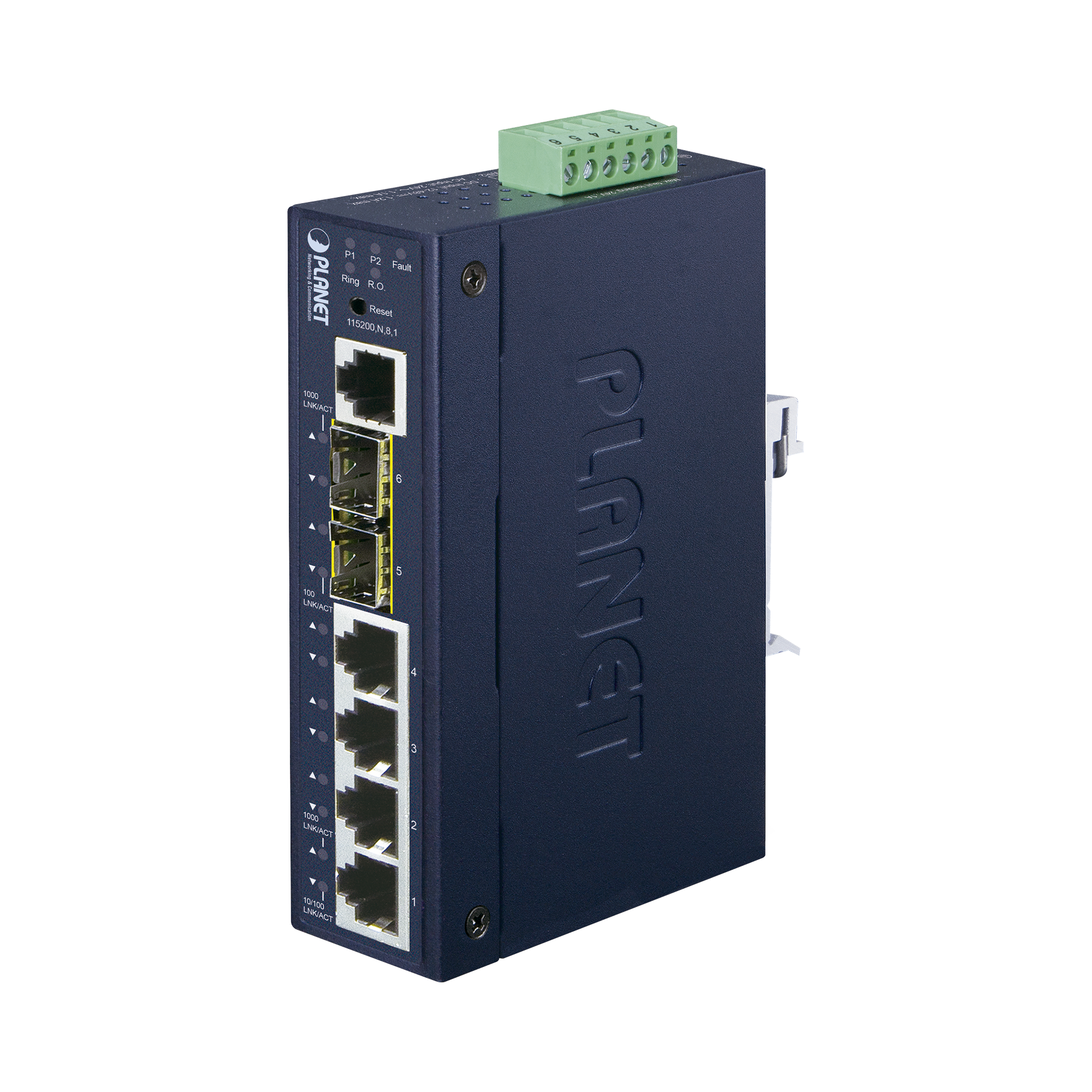 Switch Administrable industrial L2+ de 4 puertos 10/100/1000T + 2 puertos SFP 100/1000X