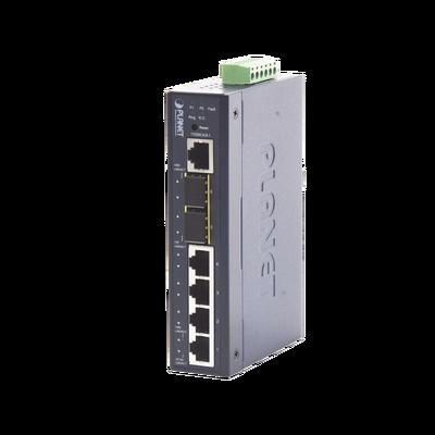 Switch Administrable industrial L2+ de 4 puertos 10/100/1000T + 2 puertos SFP 100/1000X