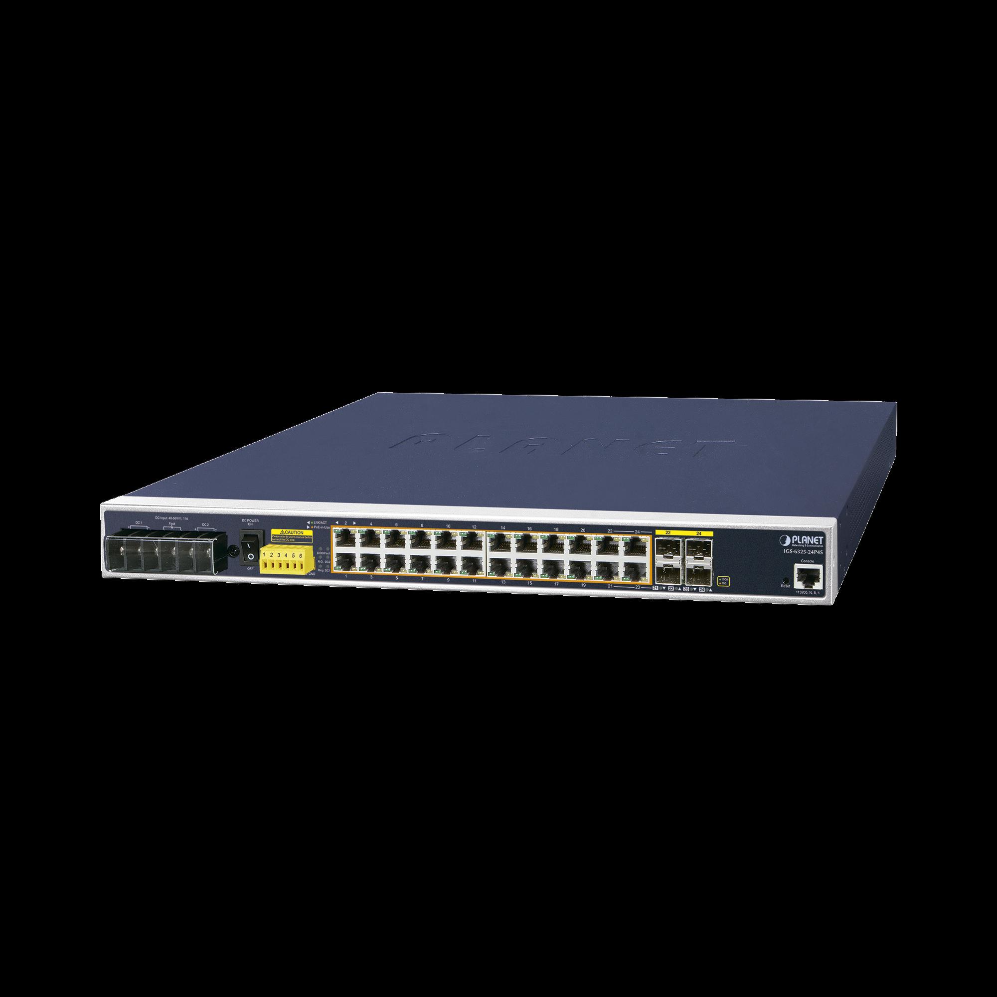 Industrial L3 24 puertos 10/100 / 1000T 802.3at PoE + 4 puertos compartidos 100 / 1000X SFP Managed Ethernet Switch (-40 ~ 75 grados C)