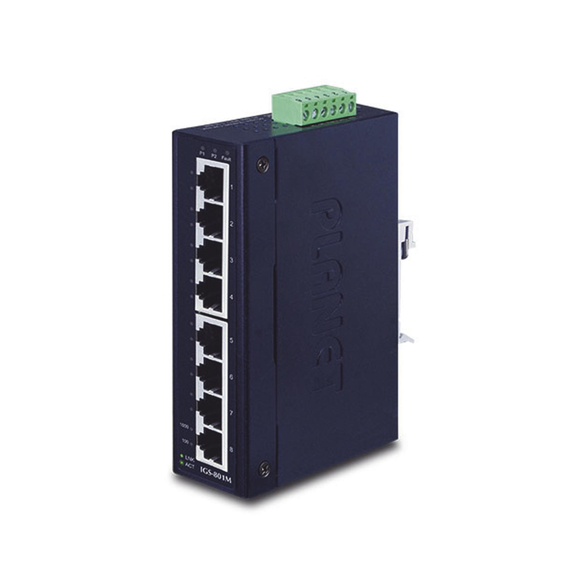 Switch Industrial Administrable Capa 2 de 8 puertos Gigabit con Fuente Redundante