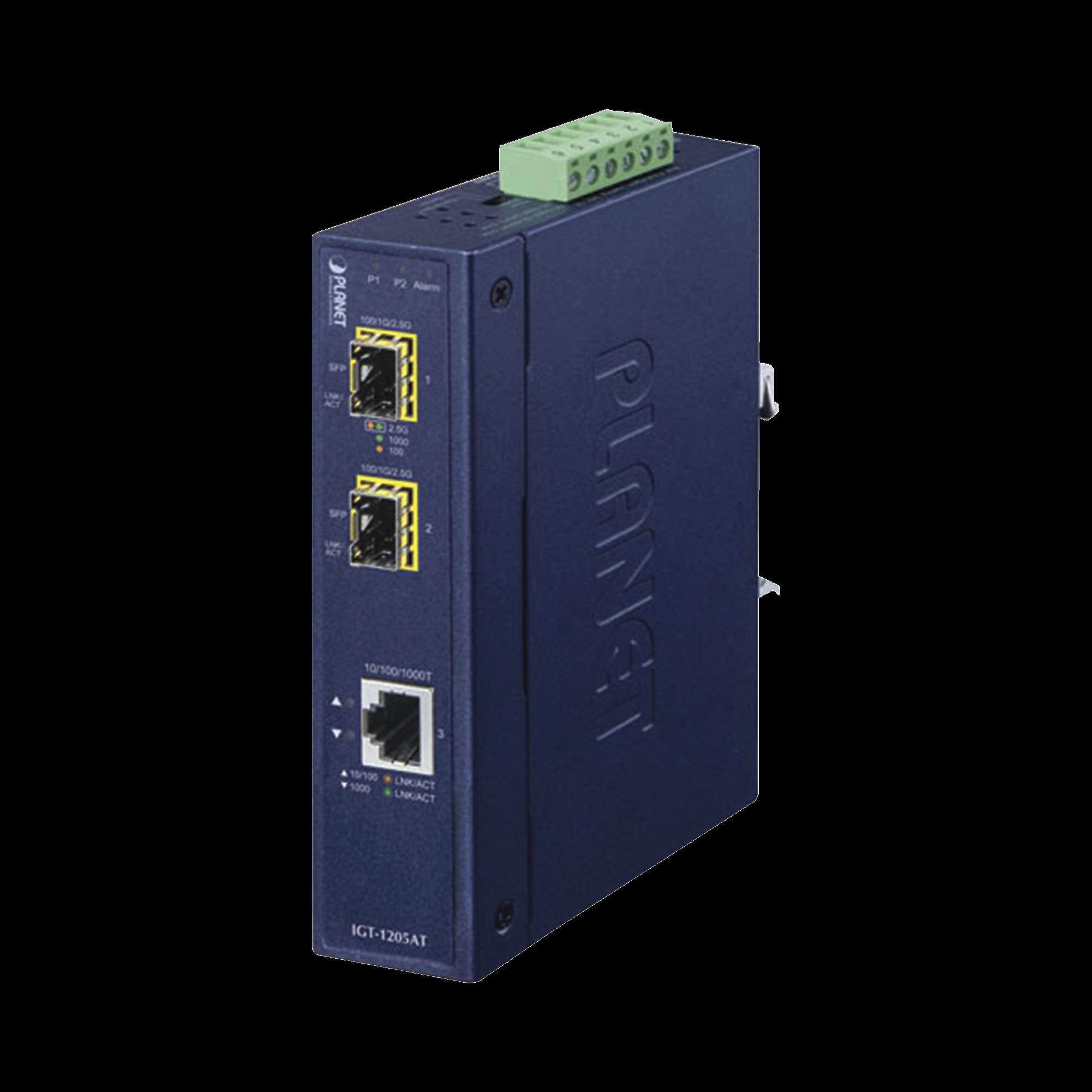 Convertidor de Medios Industrial 10/100/1000 Base-T a 2puertos 100/1000 Base-X SFP