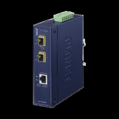 Convertidor de Medios Industrial de 1 Puerto Ethernet 10/100/1000 Base-T a 2 Puertos SFP 100/1000/2500 Base-X