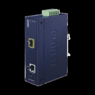 Convertidor de Medios Industrial Administrable,  Puerto Ethernet 10/100/1000 BASE-T a  Puerto SFP 100/1000X