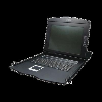 Monitor con teclado y trackpad KVM para Rack de 1U de 8 puertos VGA