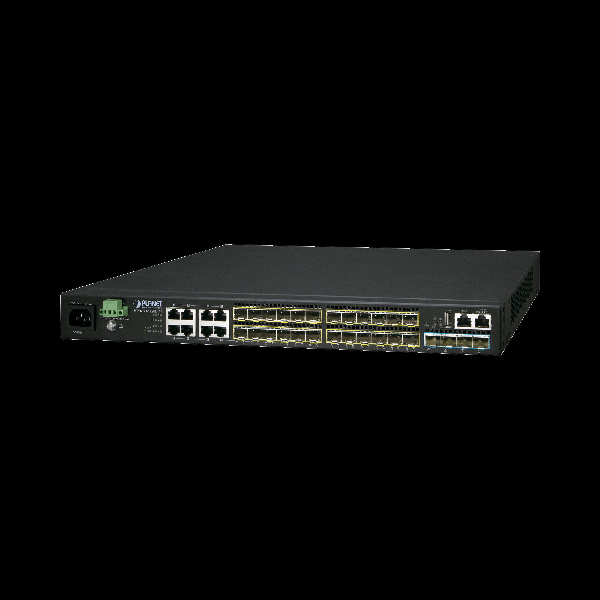 Switch Administrable L3 16-Puertos 100/1000X SFP, 8-Puertos Gigabit TP/SFP, 4-Puertos 10G SFP+ Stackable