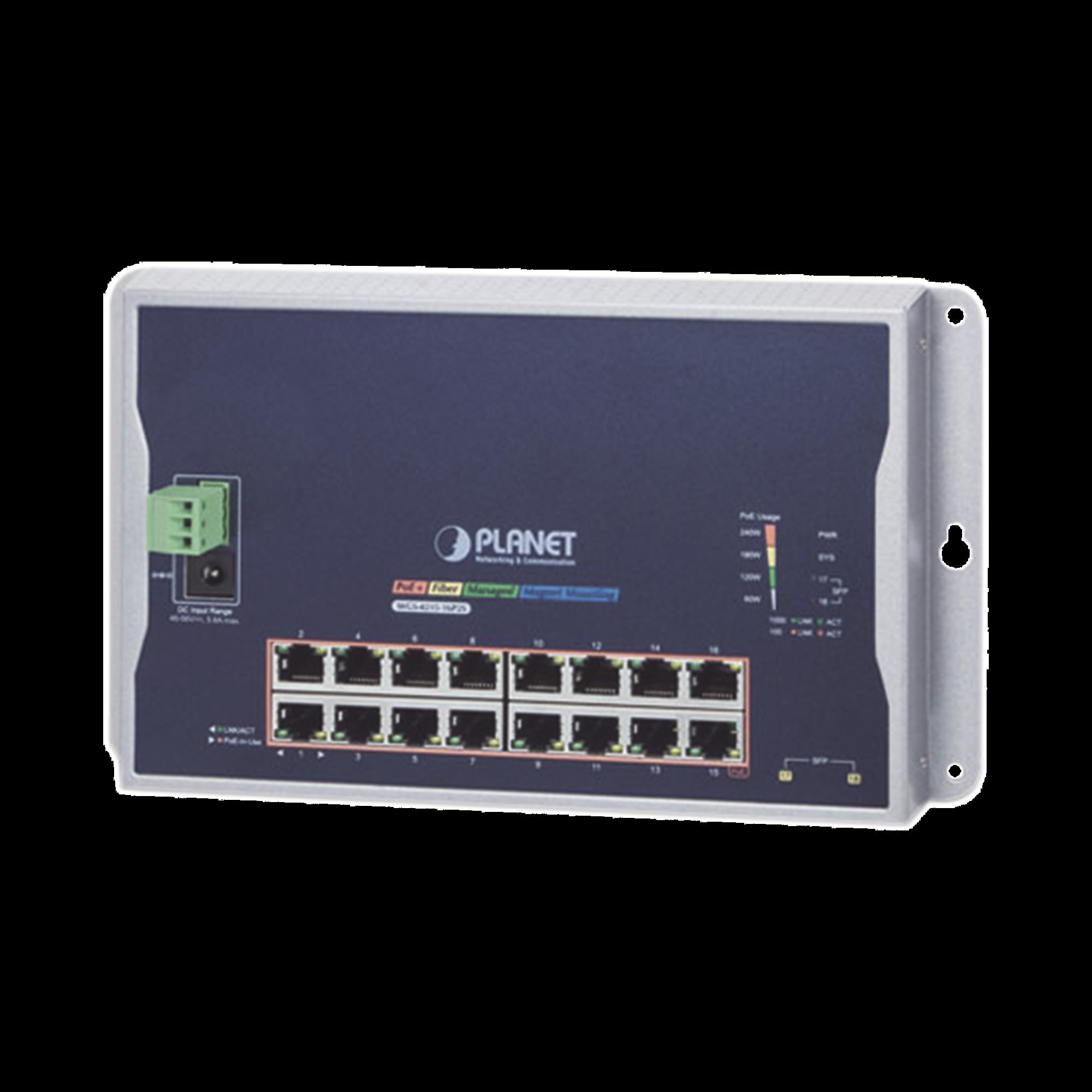 Switch Industrial Administrable Capa 2 de Pared,16 Puertos PoE 802.3at Gigabit y 2 Puertos SFP
