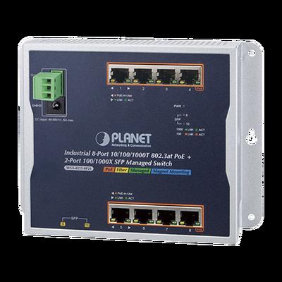 Switch PoE Industrial Administrable de Pared, 8 Puertos Gigabit PoE 802.3at y 2 Puertos 100/1000X SFP