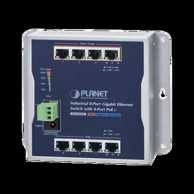 Switch Industrial de Pared de 8 Puertos Gigabit con 4 Puertos PoE+ 802.3at