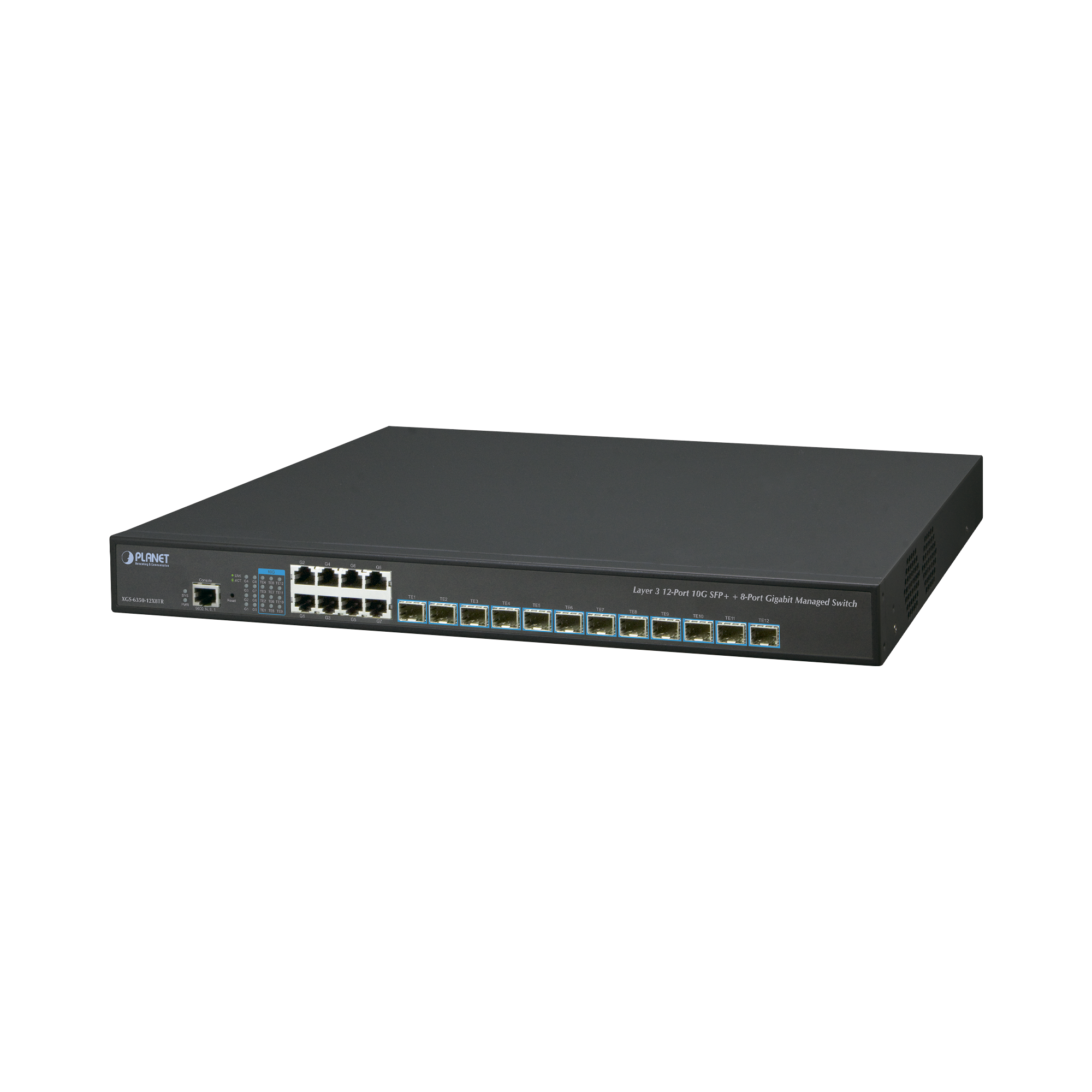Switch Administrable Layer 3 12-Puertos 10G SFP+, 8-Puertos 10/100/1000T C/Fuente Redundante AC