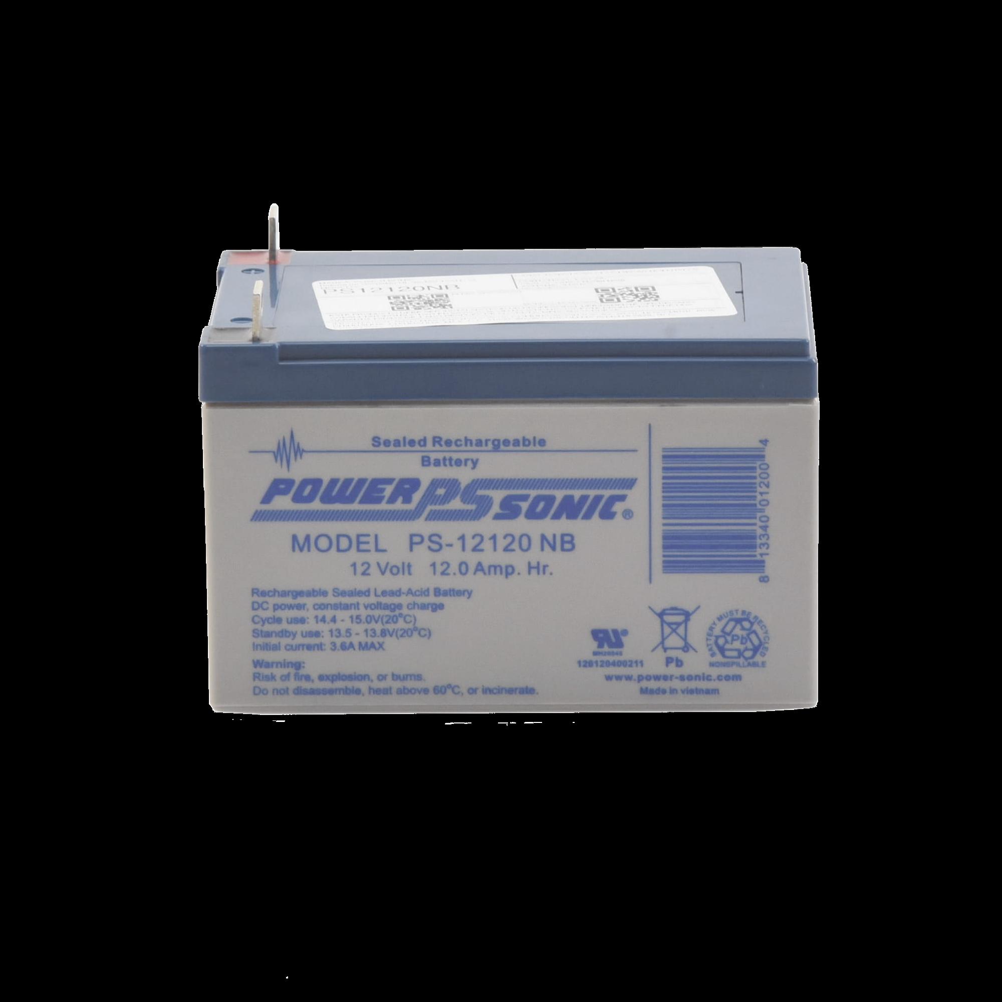 Batería de Respaldo UL de 12V 12AH / Ideal para Sistemas de Detección de Incendio / Control de Acceso / Intrusión / Videovigilancia / Terminales Tipo NB