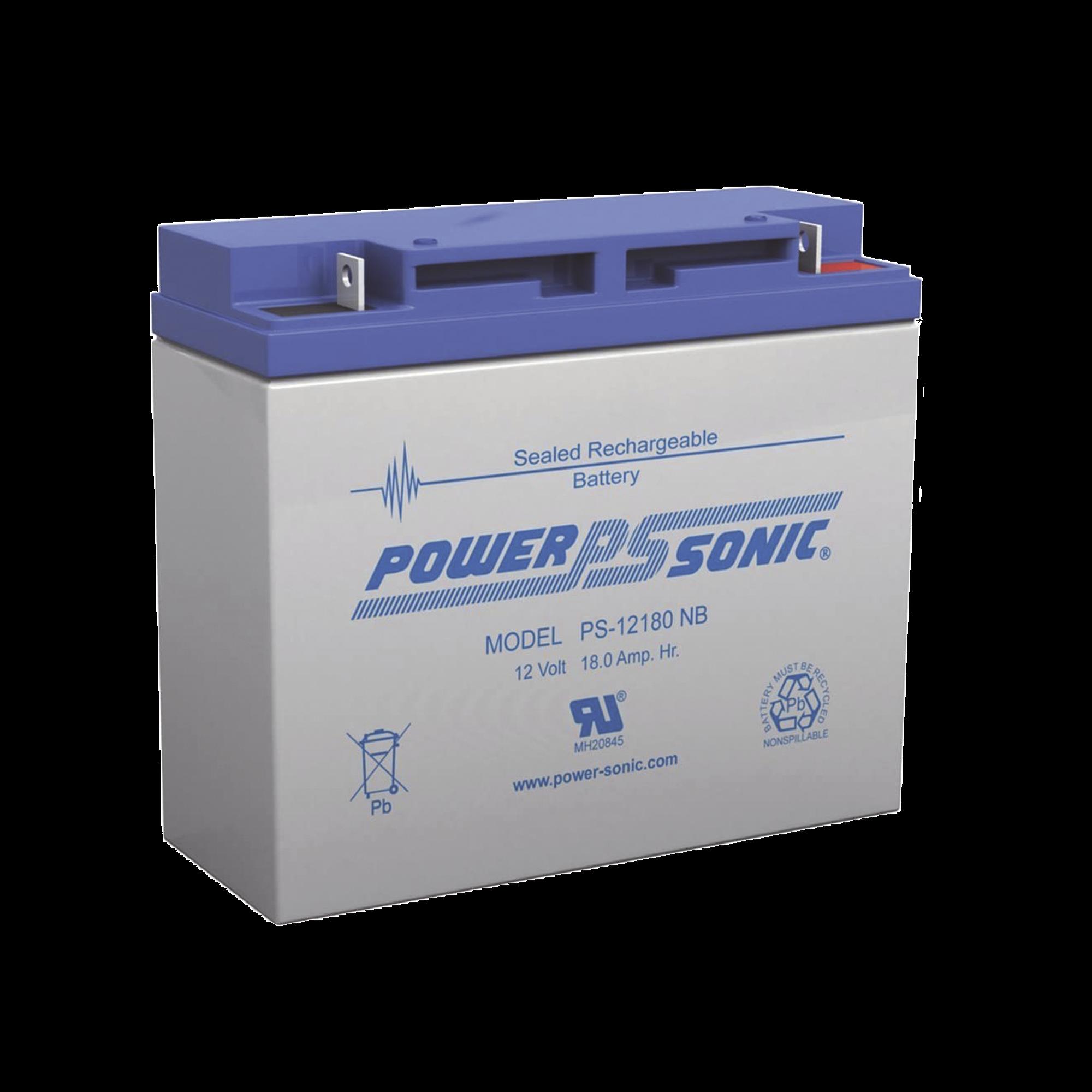 Batería de Respaldo UL de 12V 18AH / Ideal para Sistemas de Detección de Incendio / Control de Acceso / Intrusión / Videovigilancia / Terminales Tipo NB