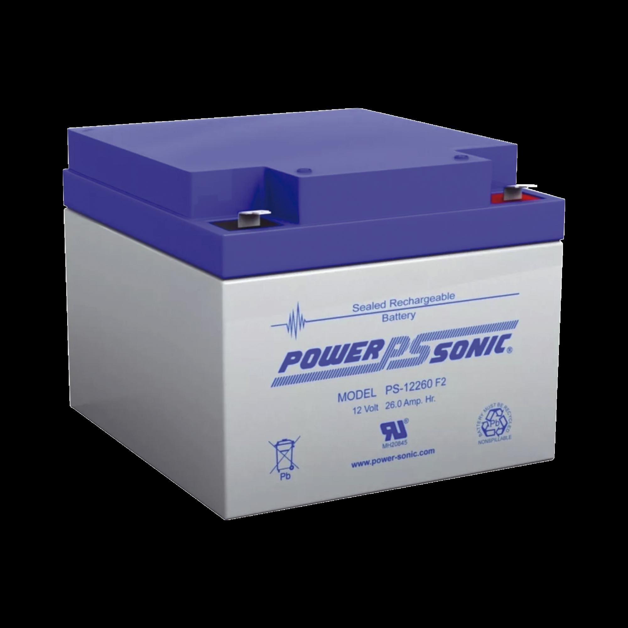 Batería de Respaldo UL de 12V 26AH, Ideal para Sistemas de Detección de Incendio, Control de Acceso, Intrusión y Videovigilancia