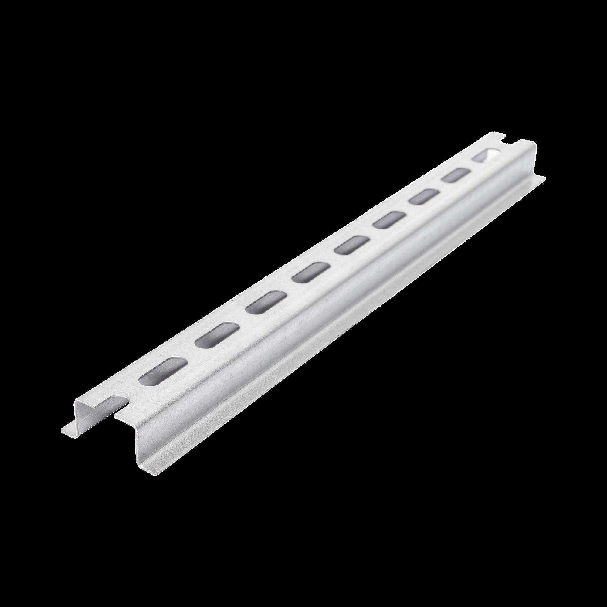 Riel DIN Estándar de 35 mm Ranurado. 25 cm de longitud. Fabricado en Acero.