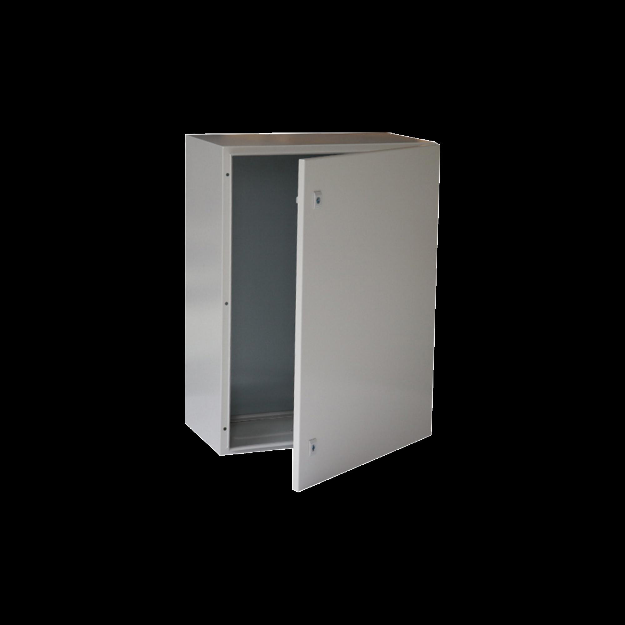 Gabinete de Acero IP66 Uso en Intemperie (400 x 600 x 250 mm) con Placa Trasera Interior y Compuerta Inferior Atornillable (Incluye Chapa y Llave).