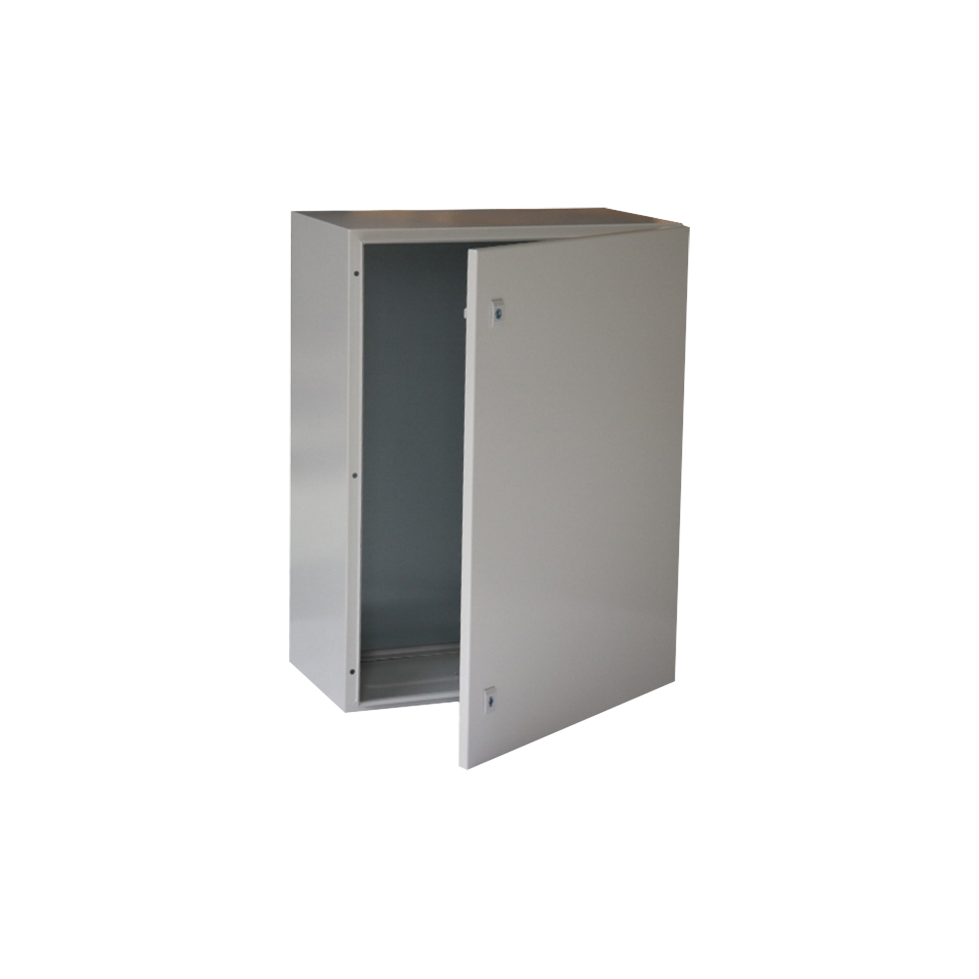 Gabinete de Acero IP66 Uso en Intemperie (600 x 800 x 300 mm) con Placa Trasera Interior y Compuerta Inferior Atornillable (Incluye Chapa y Llave).