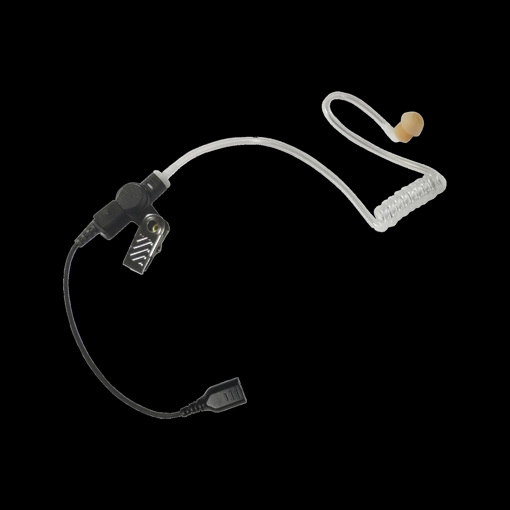 Auricular de tubo acústico transparente con cable de fibra tranzada con conector SNAP tipo MIRAGE. Requiere micrófono de solapa de 1 o 2 hilos de la Serie SNAP.