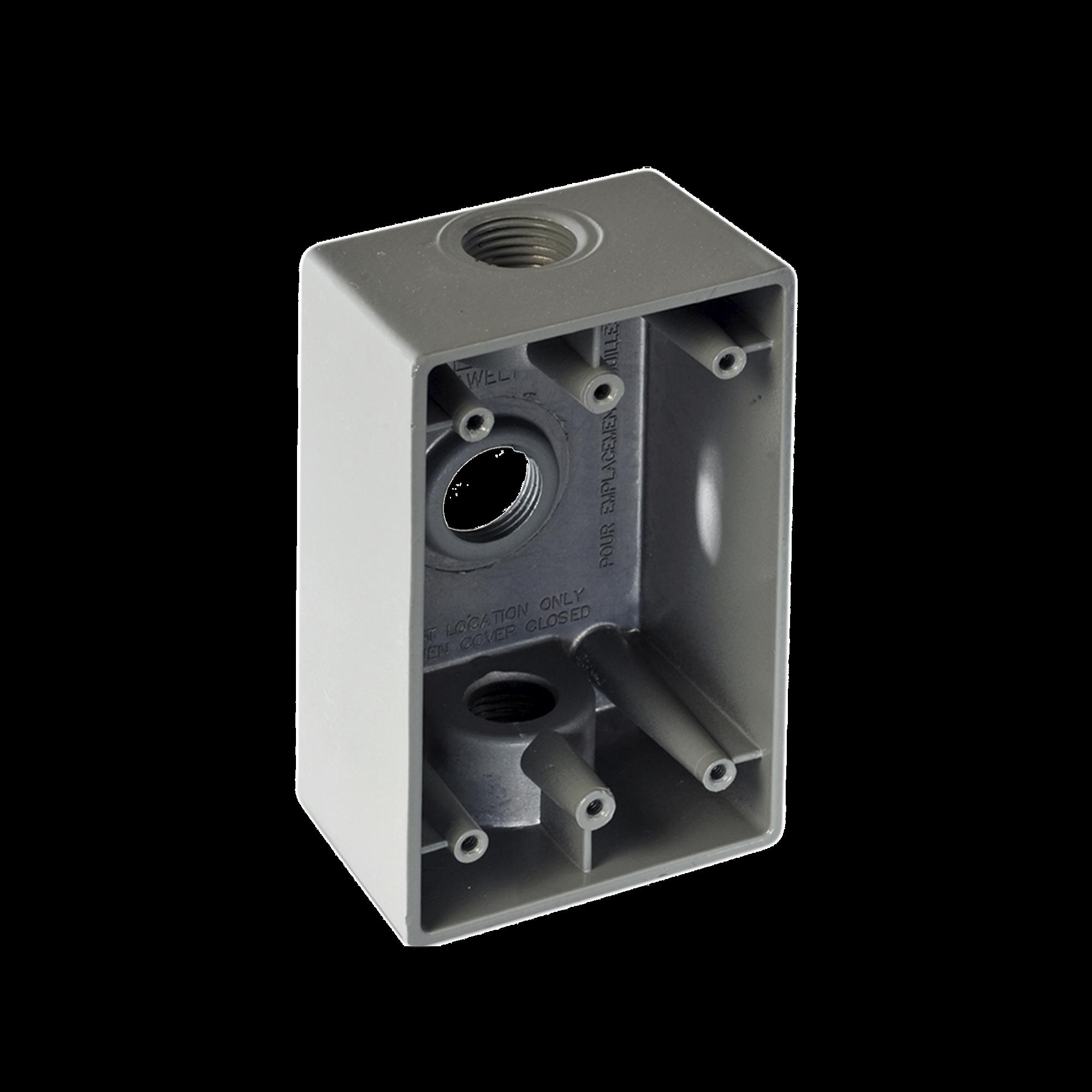 Caja Condulet FS de 1/2 (12.7 mm) con tres bocas a prueba de intemperie.