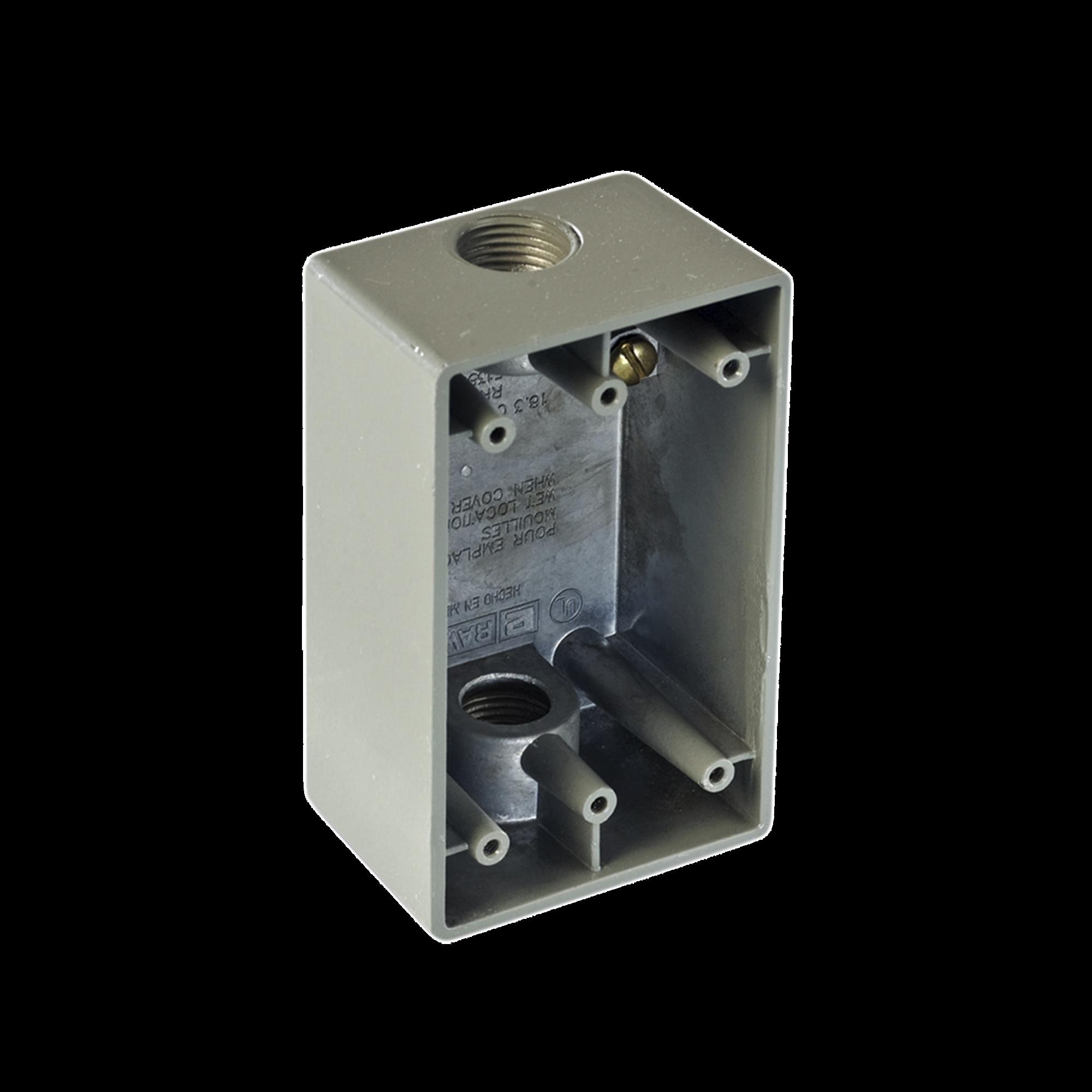 Caja Condulet FS de 1/2 ( 12.7 mm) con dos bocas a prueba de intemperie.
