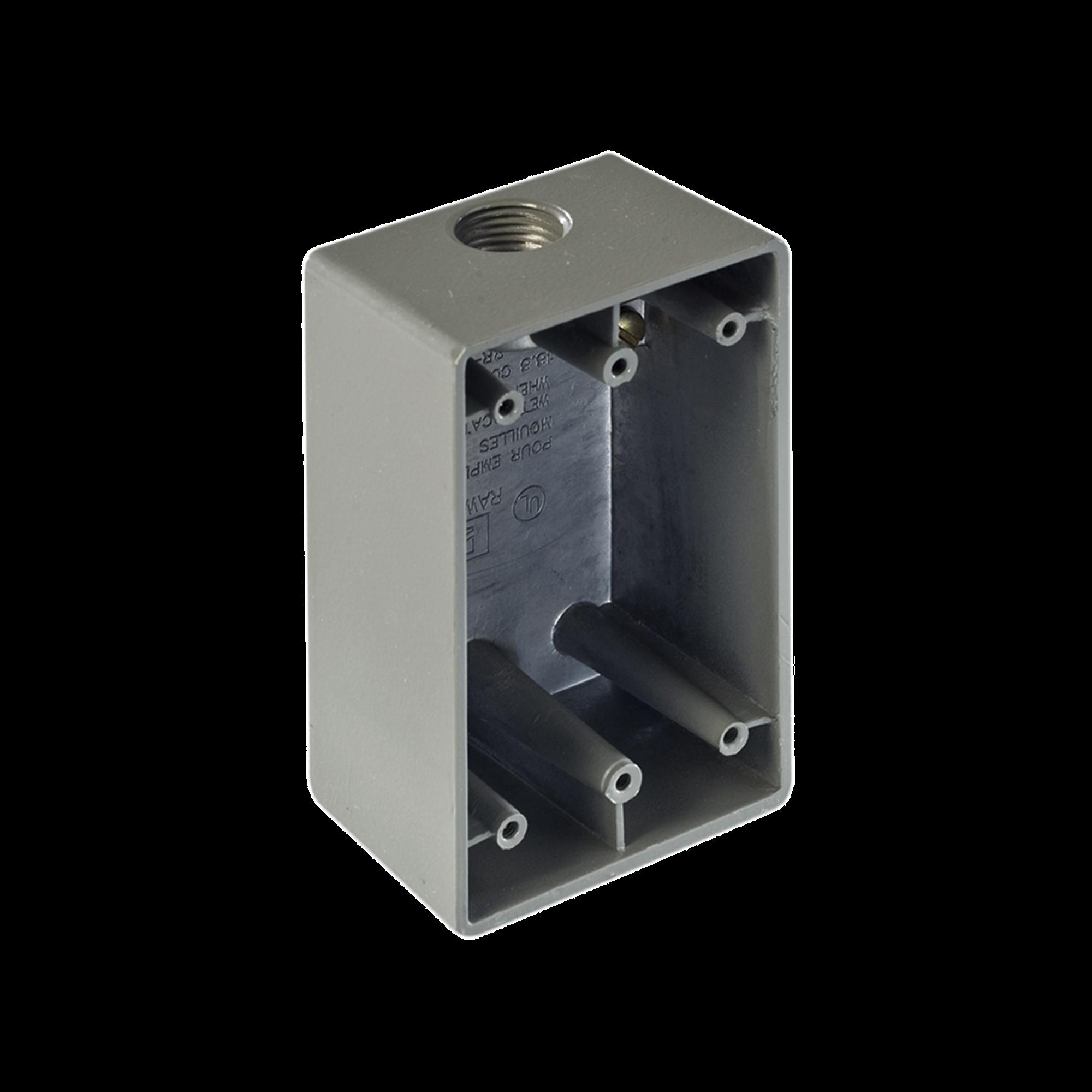 Caja Condulet FS de 3/4 ( 19.05 mm) con una boca a prueba de intemperie.