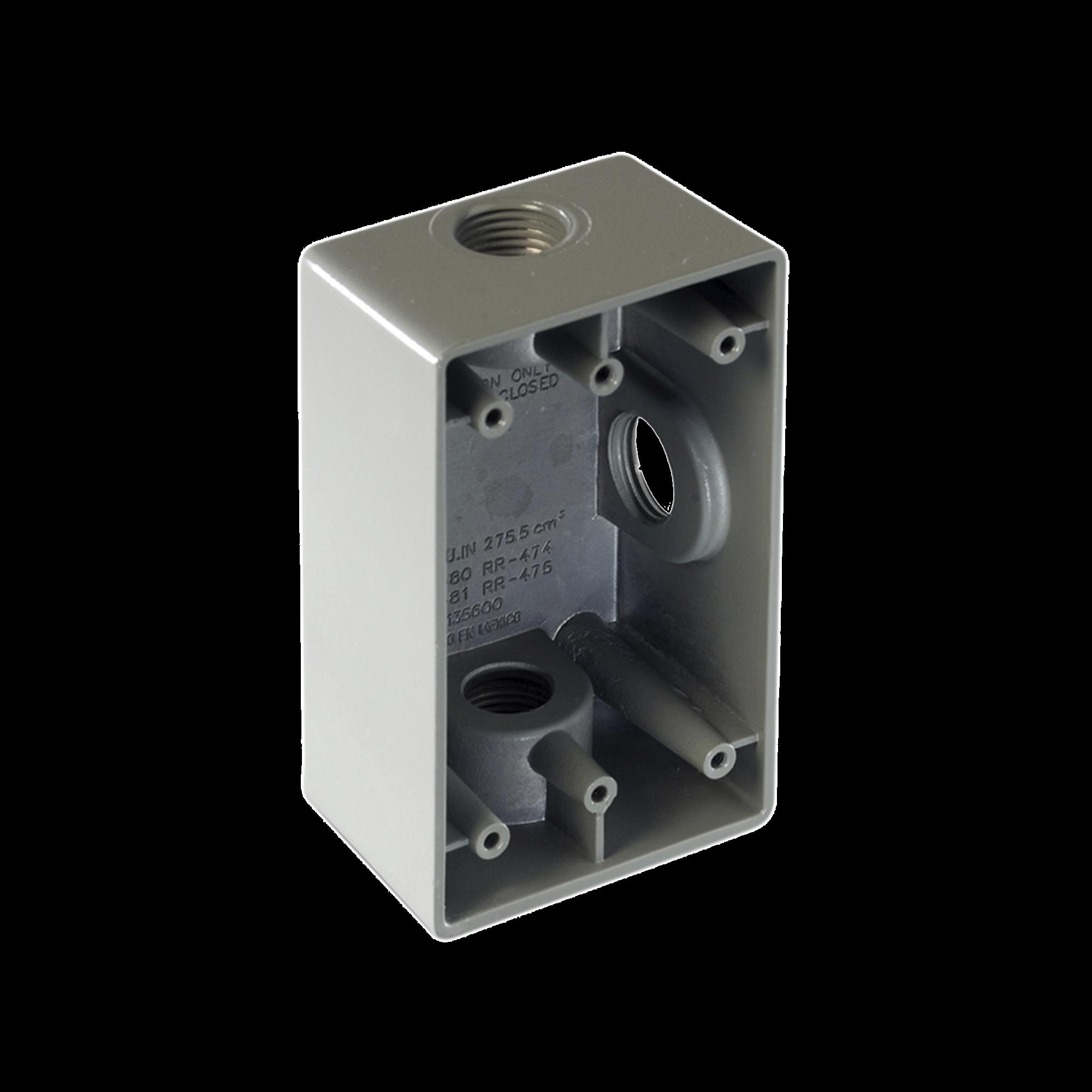 Caja Condulet FS de 1 ( 25.4 mm) con tres bocas a prueba de intemperie.