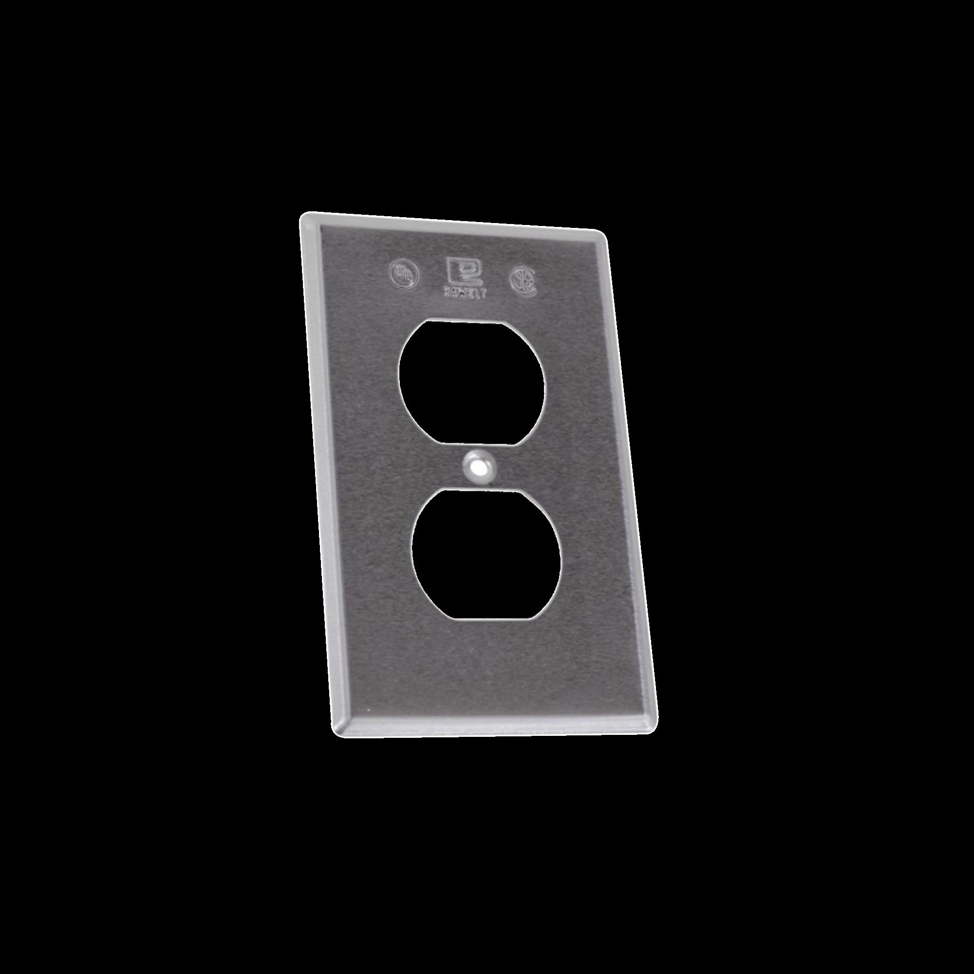 Tapa rectangular para contacto dúplex de aluminio tipo RR a prueba de intemperie.