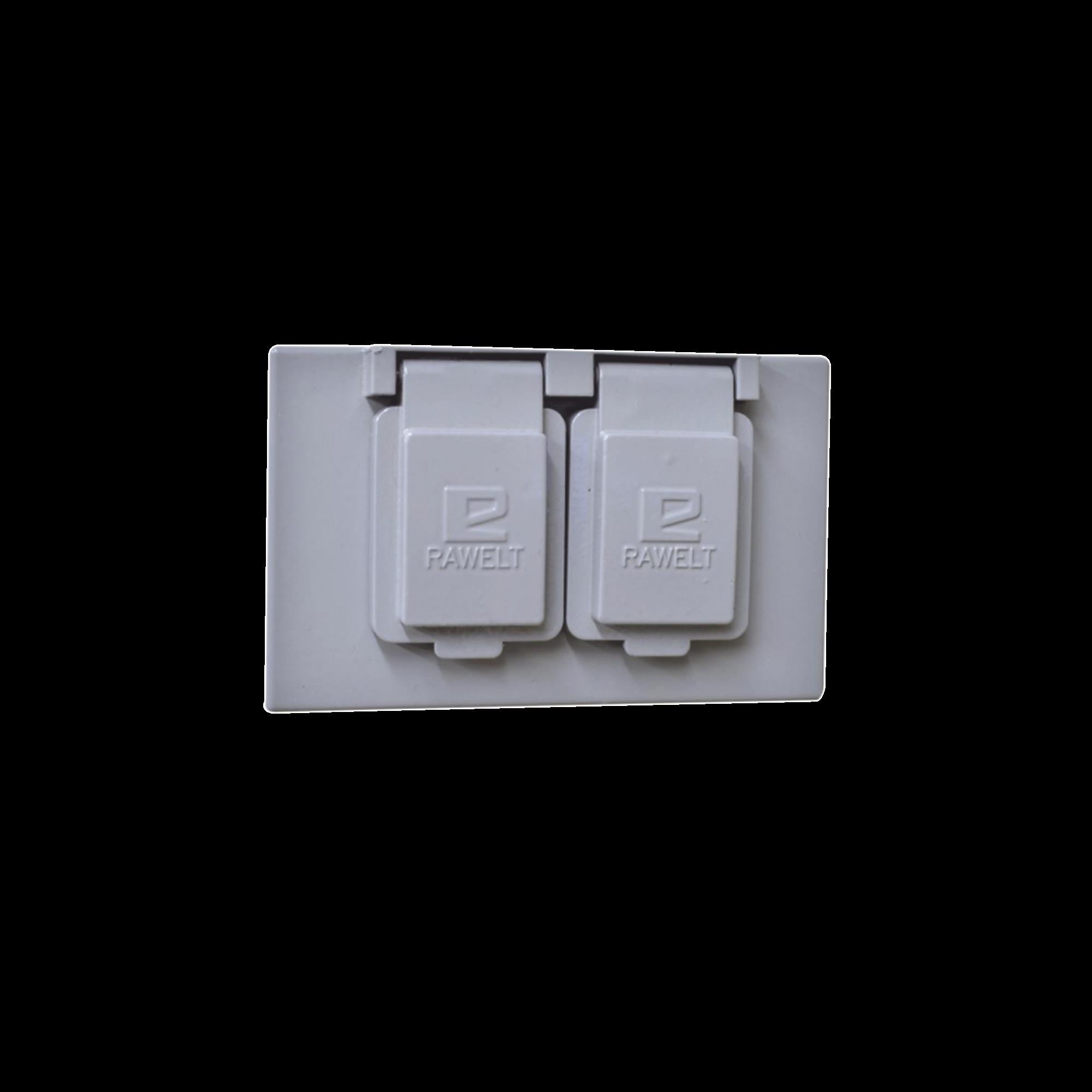 Tapa rectangular duplex horizontal con  contratapa con mecanismo de auto-cierre de aluminio para uso de interiores y exteriores tipo RR.