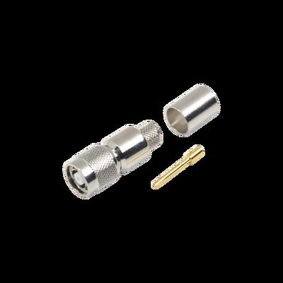 Conector TNC Macho Inverso, Anillo Plegable para ensamblar en cables RG-8/U, LMR-400, Niquel, Oro, Teflón