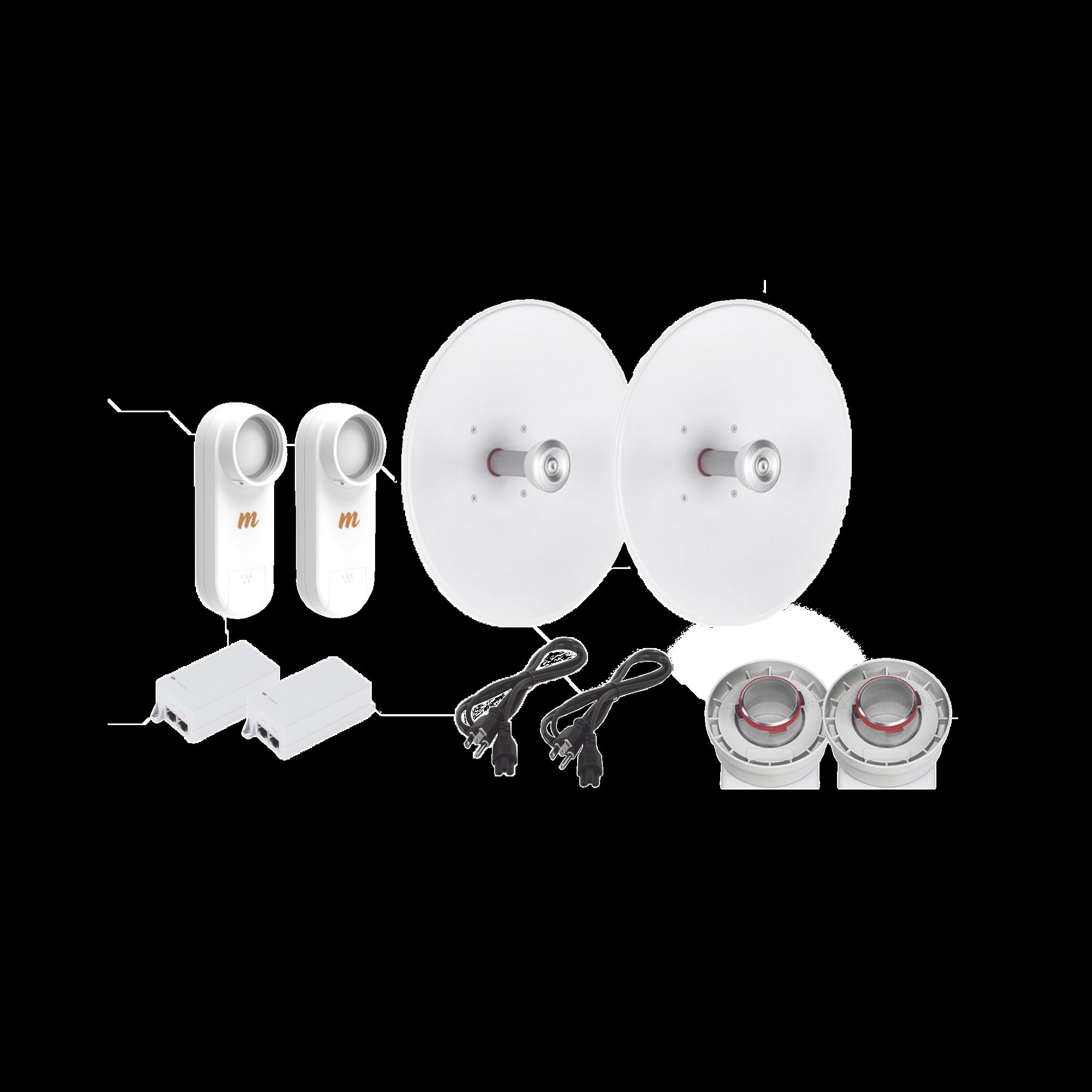 Enlace completo de 2 radios C5X con antenas UD-TP-27 (27 dBi), rango de frecuencia extendida (5.1 a 6.4 GHz),  incluye inyector POE y cable de alimentacion y adaptador para la antena