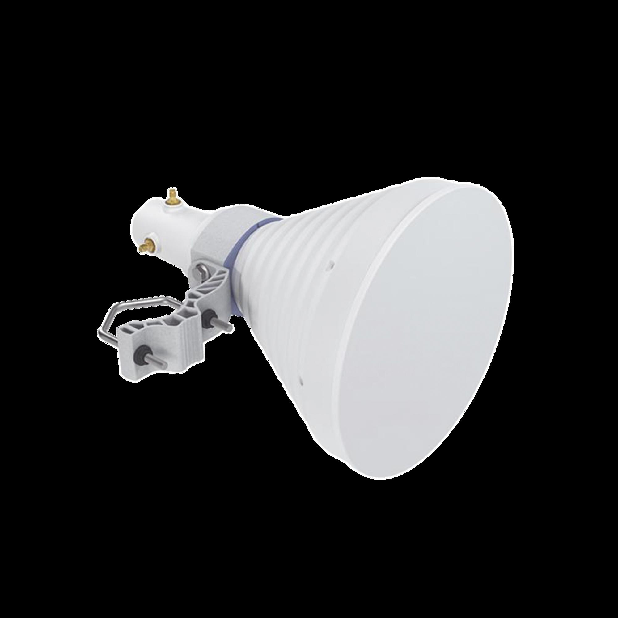 Antena Sectorial Simétrica Starter Horn de 30?, 5150 - 5950 MHz, ganancia de 18 dBi, conexión directa con radios IS-5AC, PS-5AC y IS-M5, conexión RP-SMA