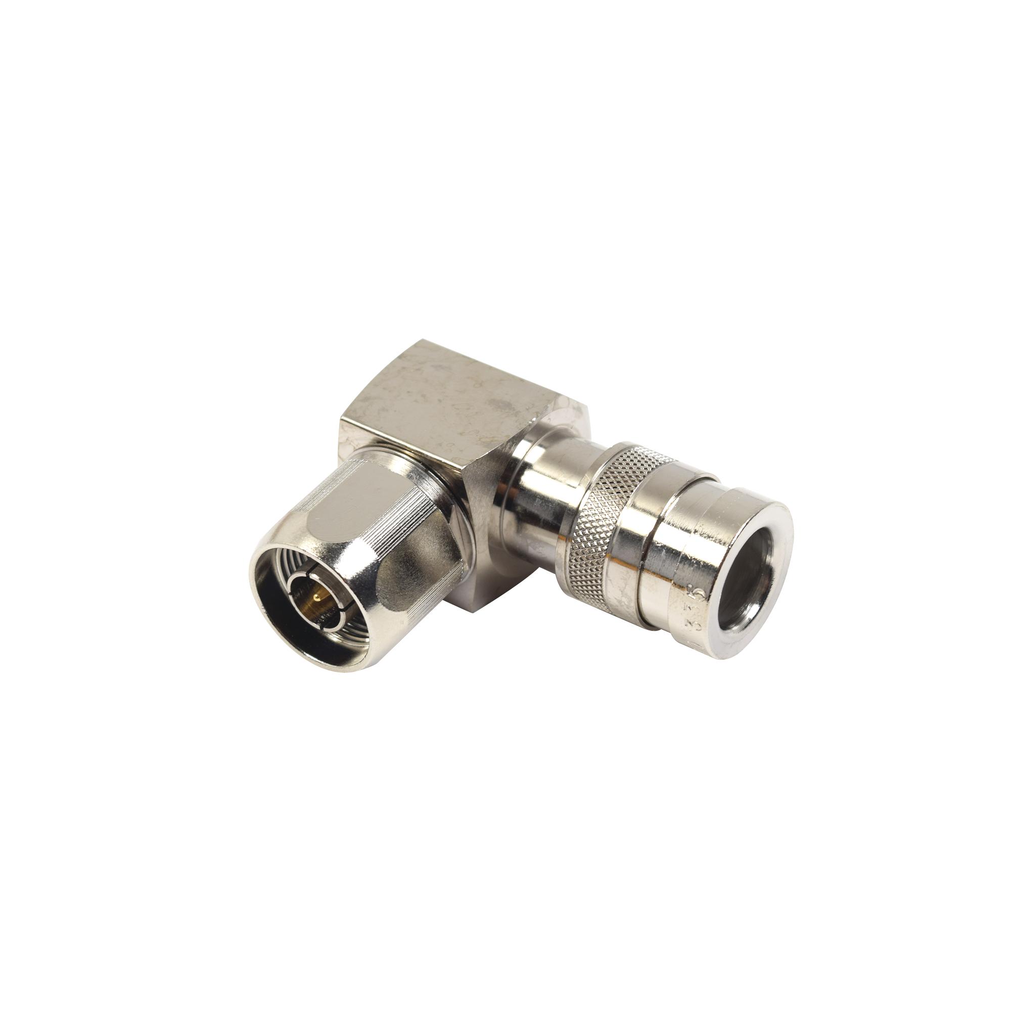 Conector N Macho de Compresion, Angulo Recto para LMR-400, CNT-400, Bronce-Blanco /Oro /Teflón.