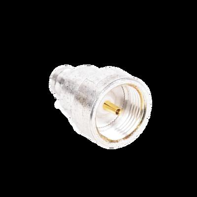 Adaptador UNIDAPT Hembra a Conector SMB Plug (Pin Hembra), Plata / Oro / Teflón.