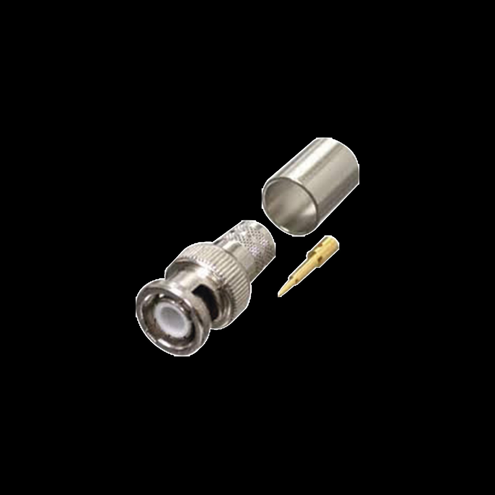 Conector BNC Macho de Anillo Plegable para RG-8/U, LMR-400, 9913, CNT-400, Ni/Au/Teflón.