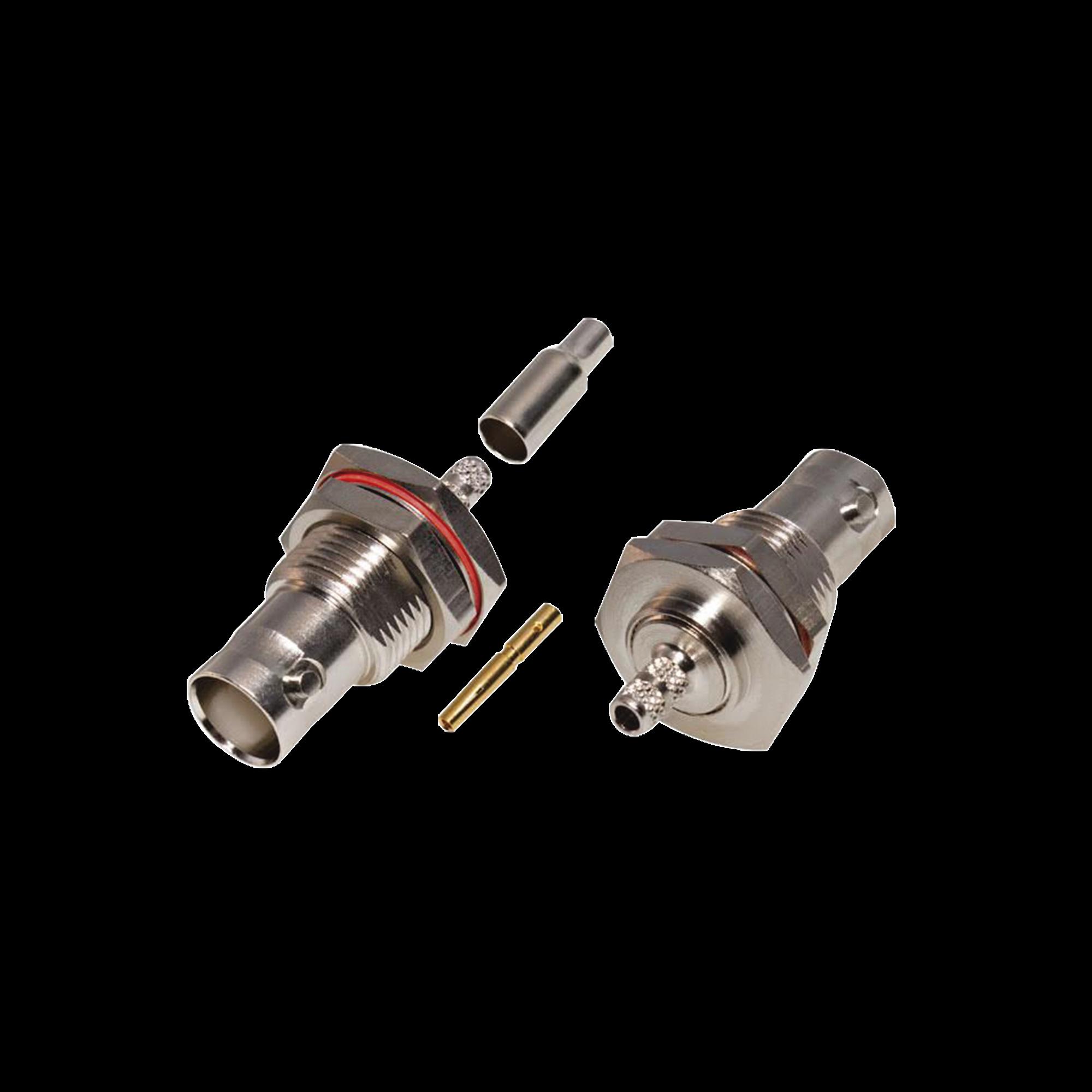 Conector BNC Hembra /Chasis en D-Plano, Anillo Plegable/ RG-316/U, Niquel/Oro/Teflón.