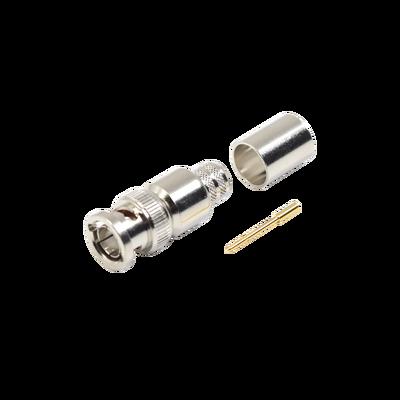 Conector BNC Macho de 75 Ohm, Anillo Plegable, para Cable 8238, RG-11/U, Niquel / Oro / Teflón.