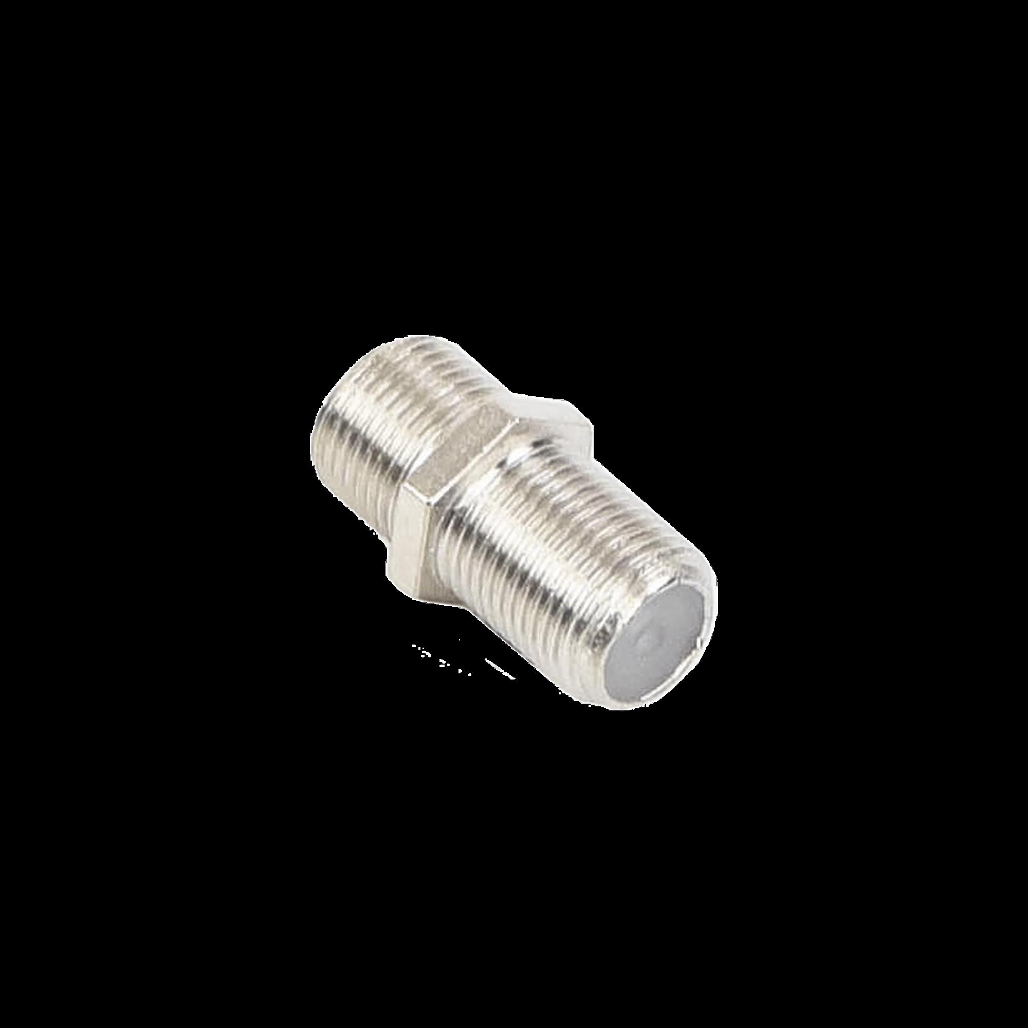 Adaptador Barril para 75 Ohm, de Conector F Hembra a F Hembra, Niquel / Estaño / Polietileno.