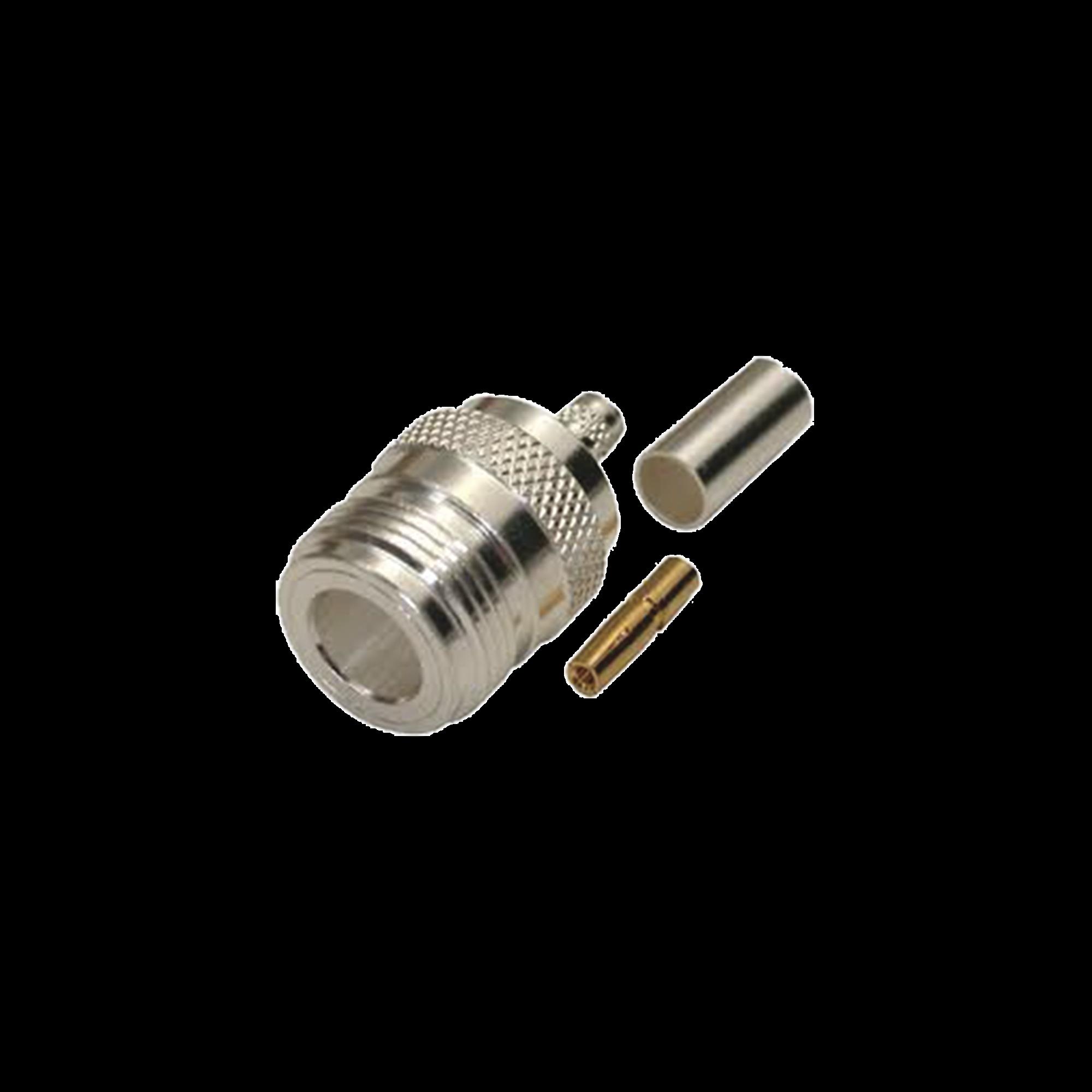 Conector N Hembra, de Anillo Plegable para Cables LMR-240, RG-8/X, 9258, Niquel/Oro/Teflón.