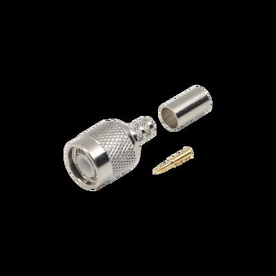 Conector TNC Macho de Anillo Plegable para Cables LMR-240, RG-8/X, 9258, Niquel/Oro/Delrin.