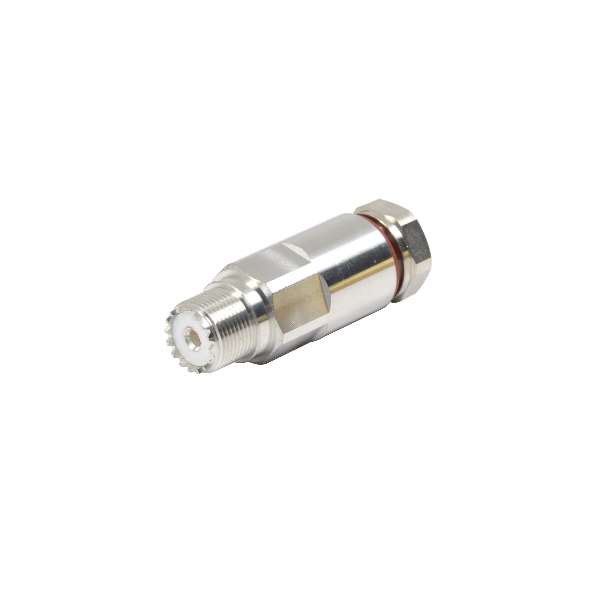 Conector UHF Hembra (SO-239) de Rosca para cable LDF4-50A, Bronce Blanco/ Plata/ Teflón.