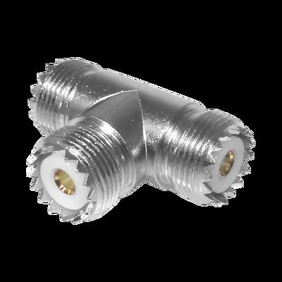 Adaptador en forma T, de Conector UHF Hembra (SO-239) a Doble Conector UHF Hembra, Níquel/ Plata/ Delrin.