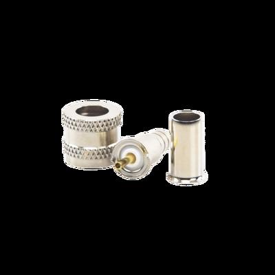 Conector Mini UHF Macho, 50 Ohm, de Anillo Plegable para Cables RG-58/U, RG-142/U, Niquel/Oro/Delrin.