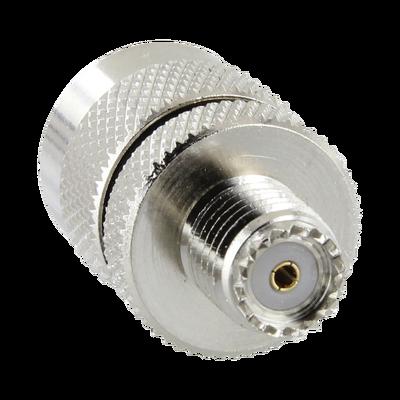 Adaptador en Línea de Conector Mini UHF Hembra a UHF Macho (PL-259), Níquel/ Oro/ Teflón.