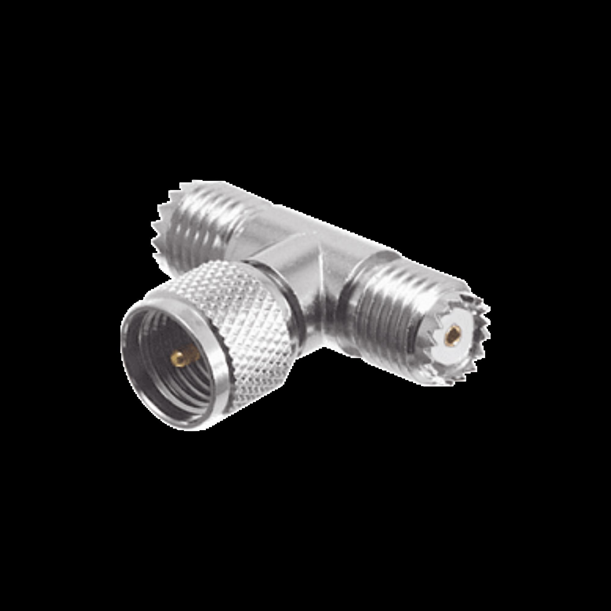 Adaptador en T, de Conector Mini-UHF Macho a Doble Mini-UHF Hembra, Niquel/Plata/Teflón.